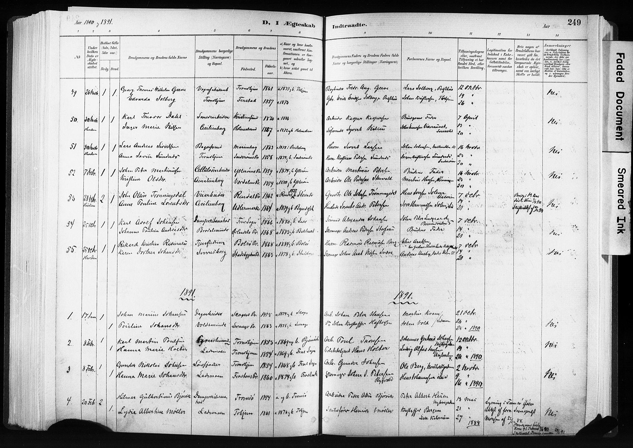 SAT, Ministerialprotokoller, klokkerbøker og fødselsregistre - Sør-Trøndelag, 606/L0300: Ministerialbok nr. 606A15, 1886-1893, s. 249