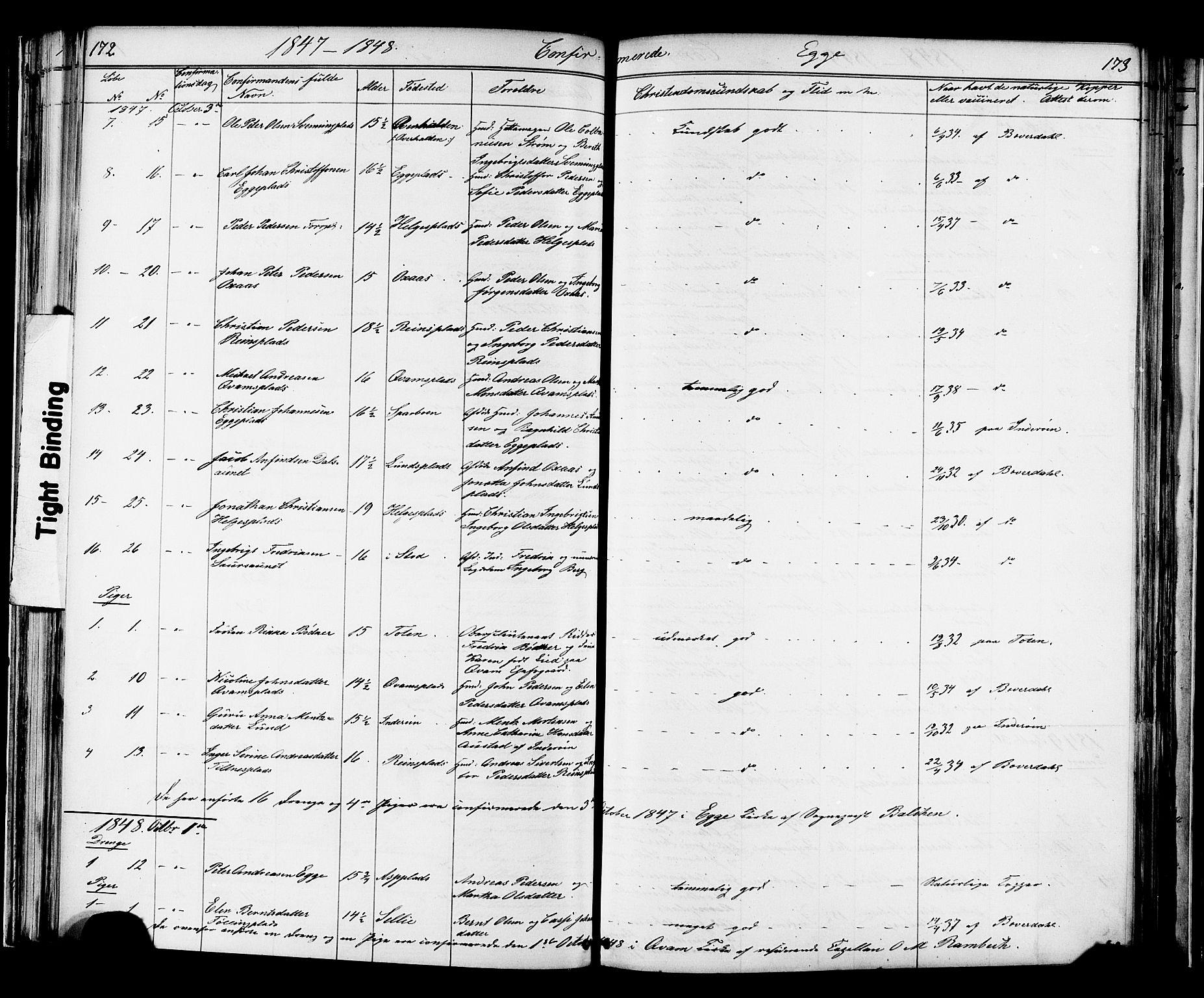 SAT, Ministerialprotokoller, klokkerbøker og fødselsregistre - Nord-Trøndelag, 739/L0367: Ministerialbok nr. 739A01 /3, 1838-1868, s. 172-173