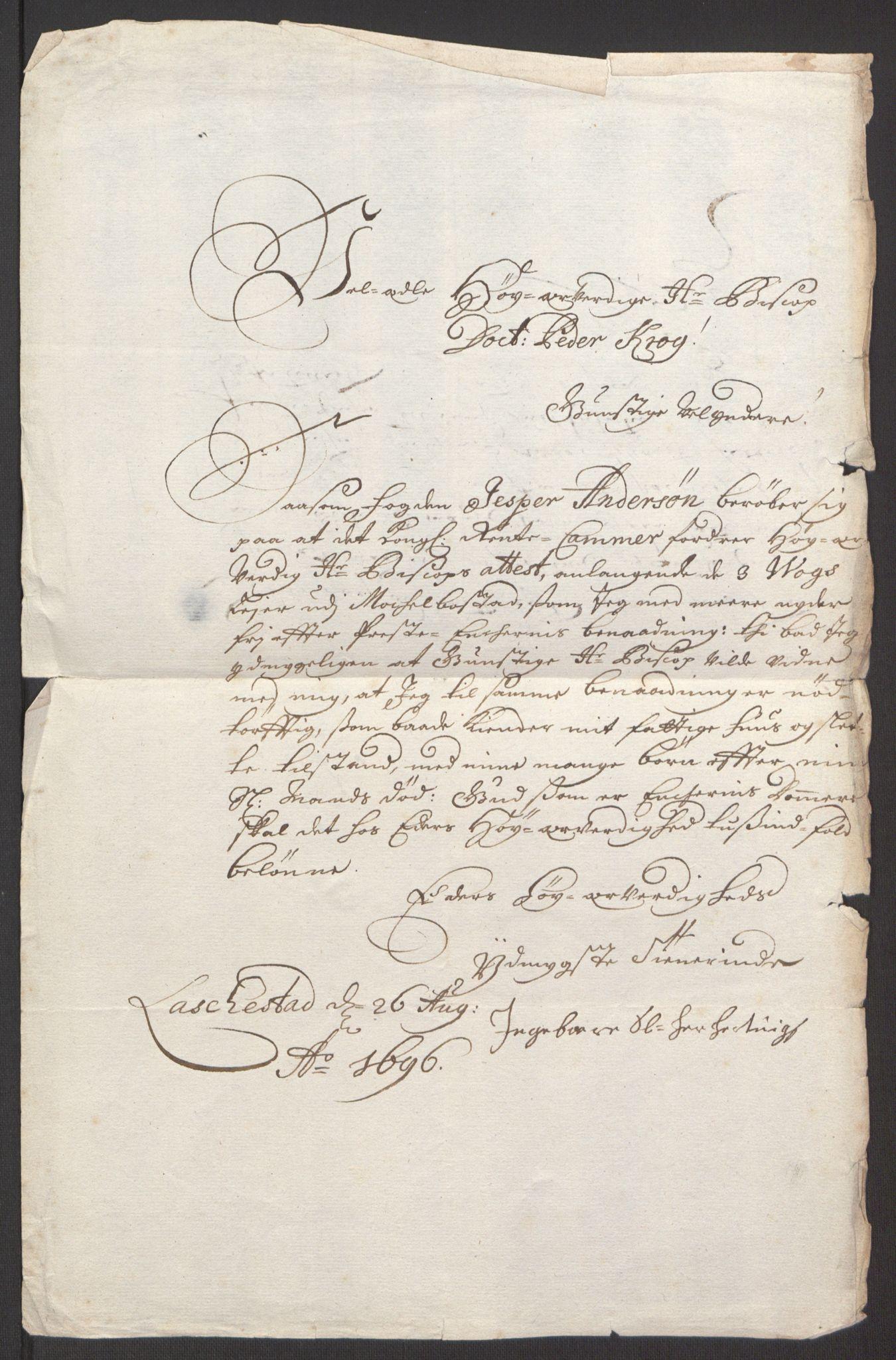 RA, Rentekammeret inntil 1814, Reviderte regnskaper, Fogderegnskap, R66/L4578: Fogderegnskap Salten, 1694-1696, s. 272