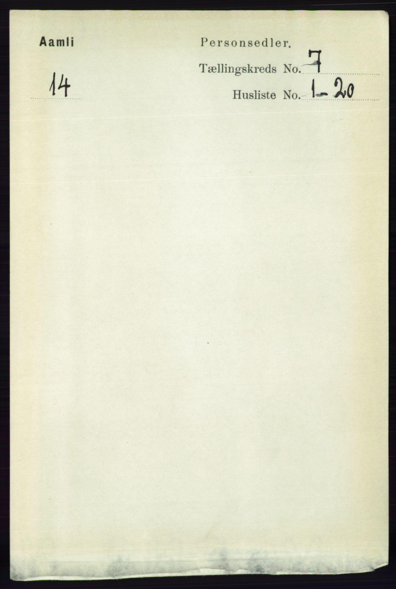 RA, Folketelling 1891 for 0929 Åmli herred, 1891, s. 937