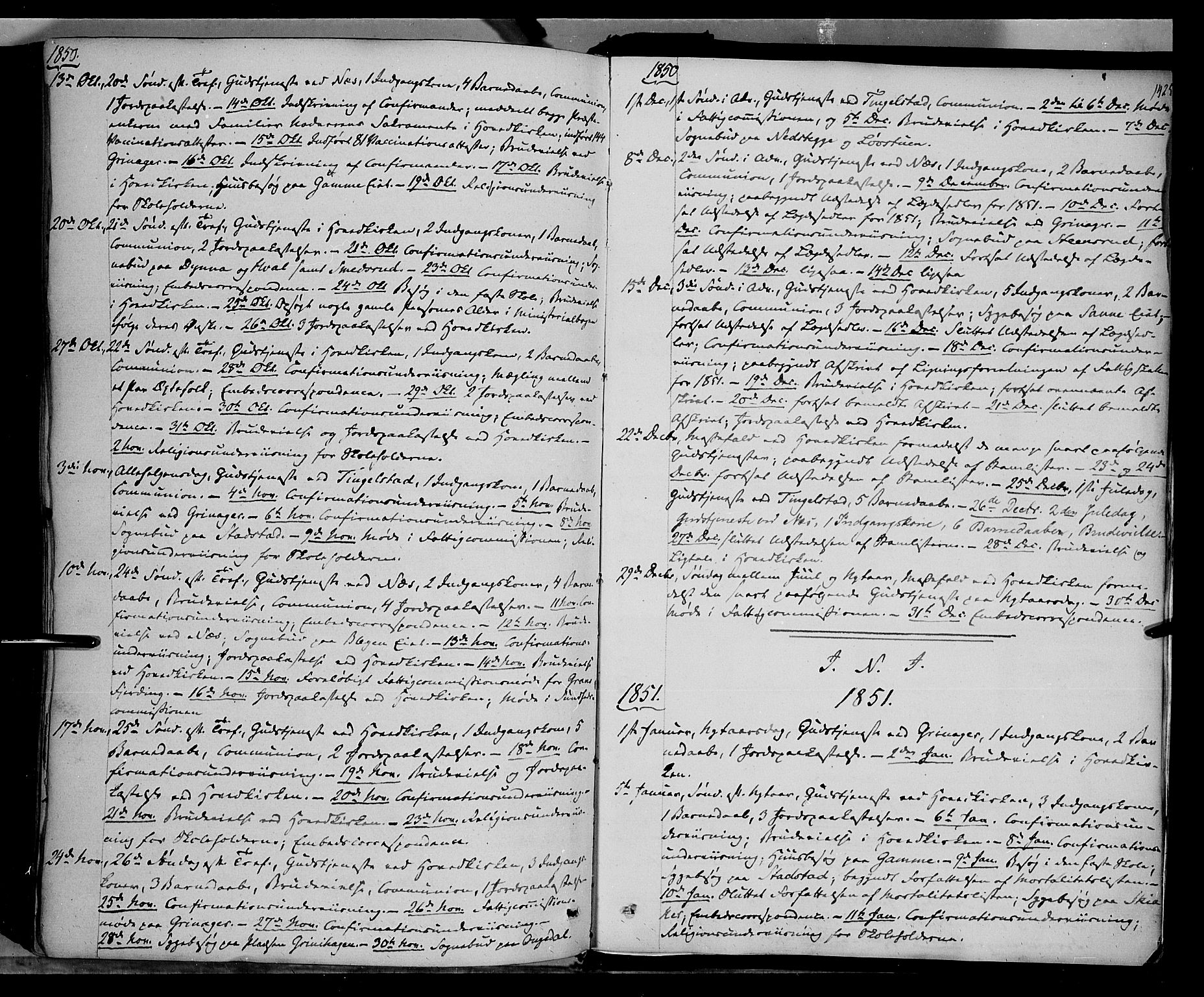 SAH, Gran prestekontor, Ministerialbok nr. 11, 1842-1856, s. 1424-1425