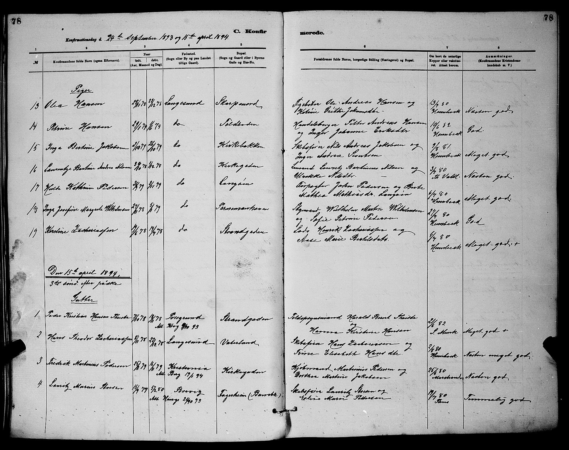 SAKO, Langesund kirkebøker, G/Ga/L0005: Klokkerbok nr. 5, 1884-1898, s. 78