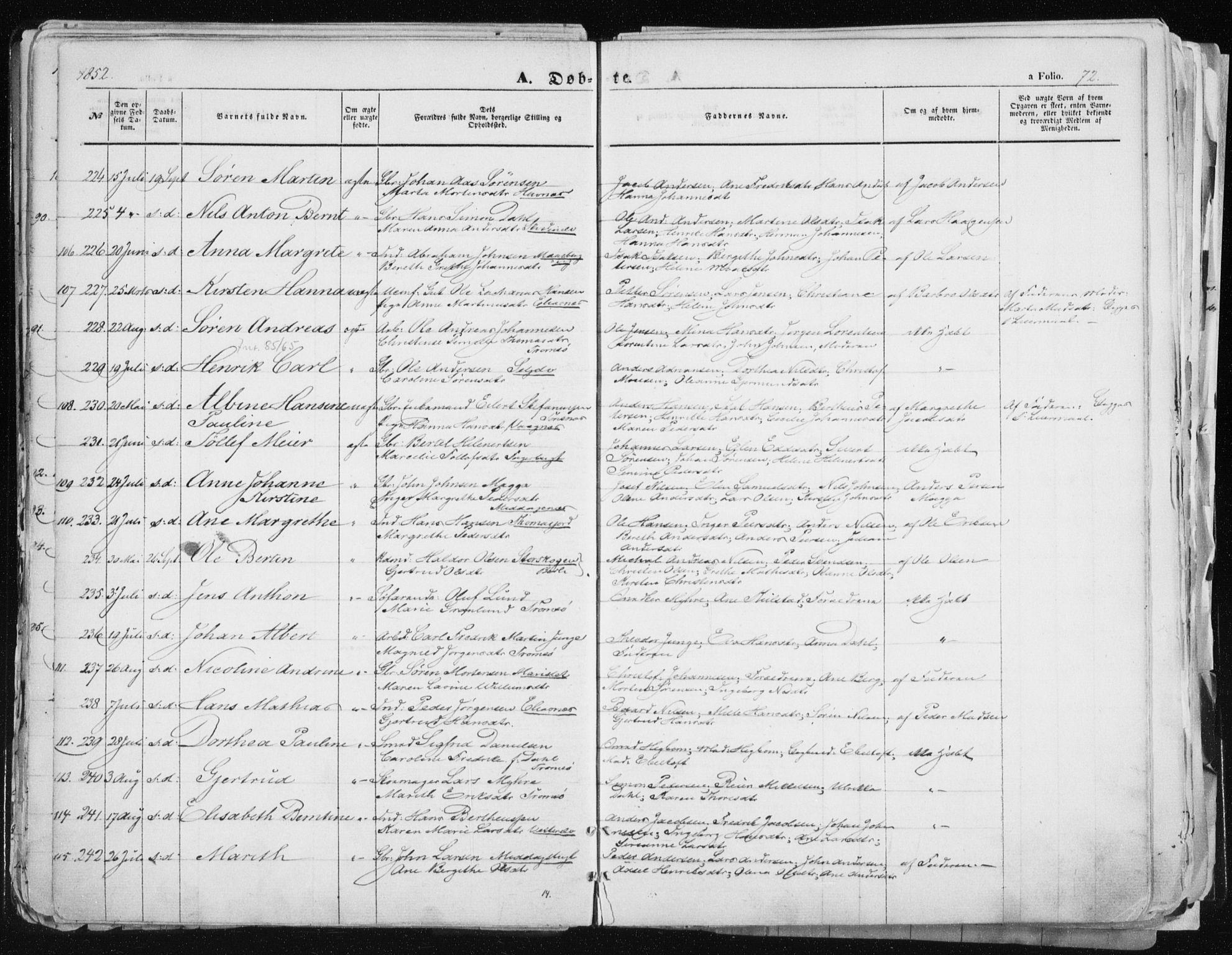 SATØ, Tromsø sokneprestkontor/stiftsprosti/domprosti, G/Ga/L0010kirke: Ministerialbok nr. 10, 1848-1855, s. 72