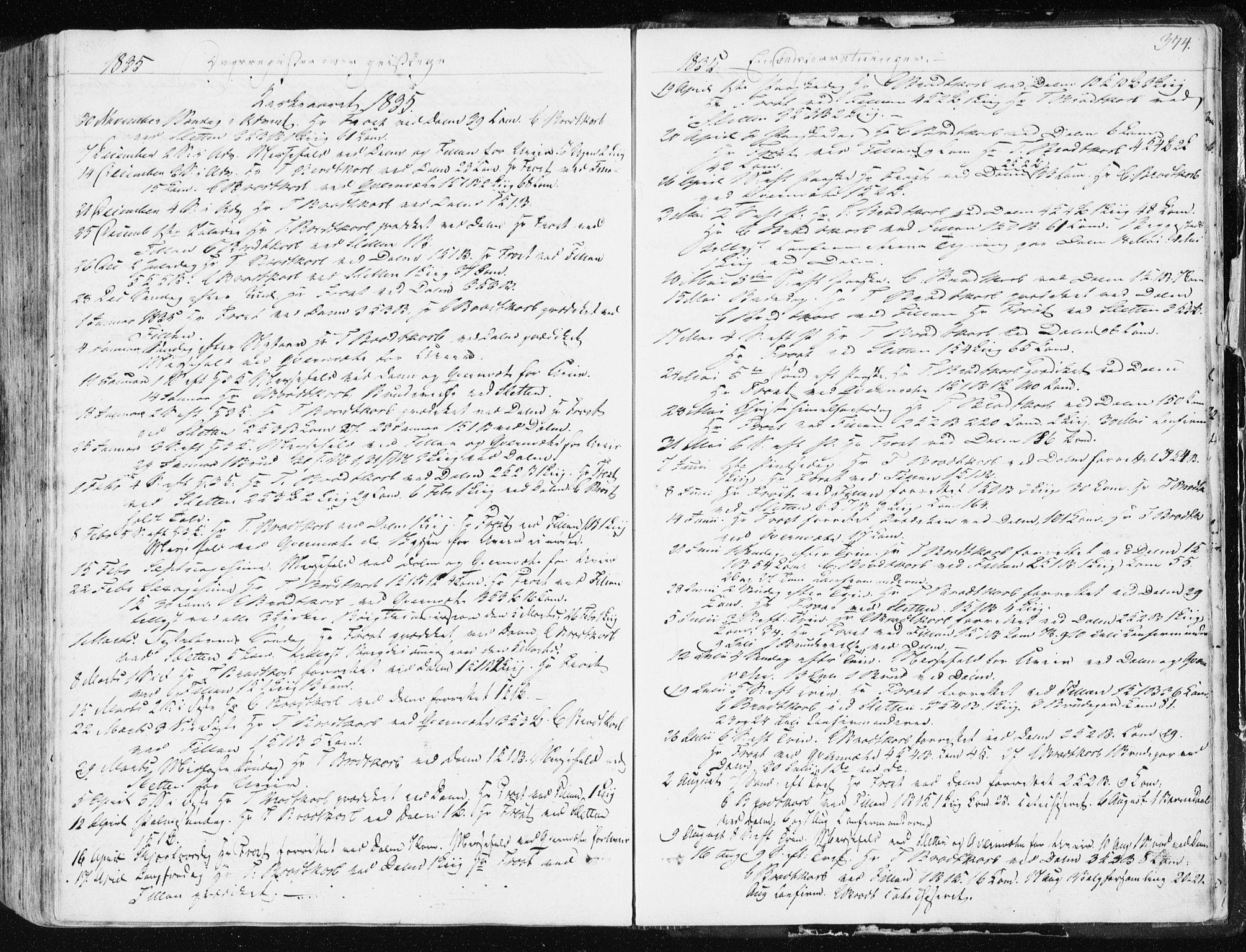 SAT, Ministerialprotokoller, klokkerbøker og fødselsregistre - Sør-Trøndelag, 634/L0528: Ministerialbok nr. 634A04, 1827-1842, s. 374
