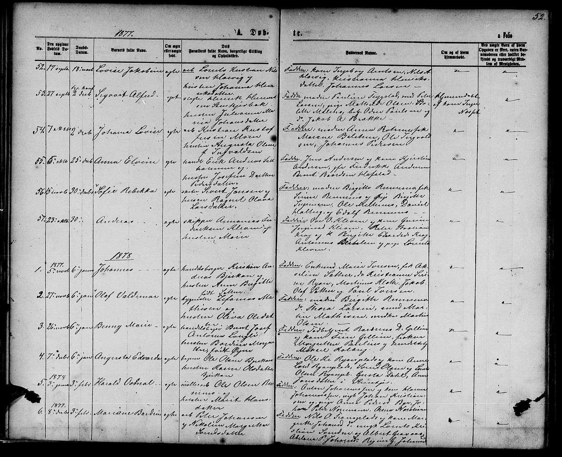 SAT, Ministerialprotokoller, klokkerbøker og fødselsregistre - Nord-Trøndelag, 739/L0373: Klokkerbok nr. 739C01, 1865-1882, s. 52