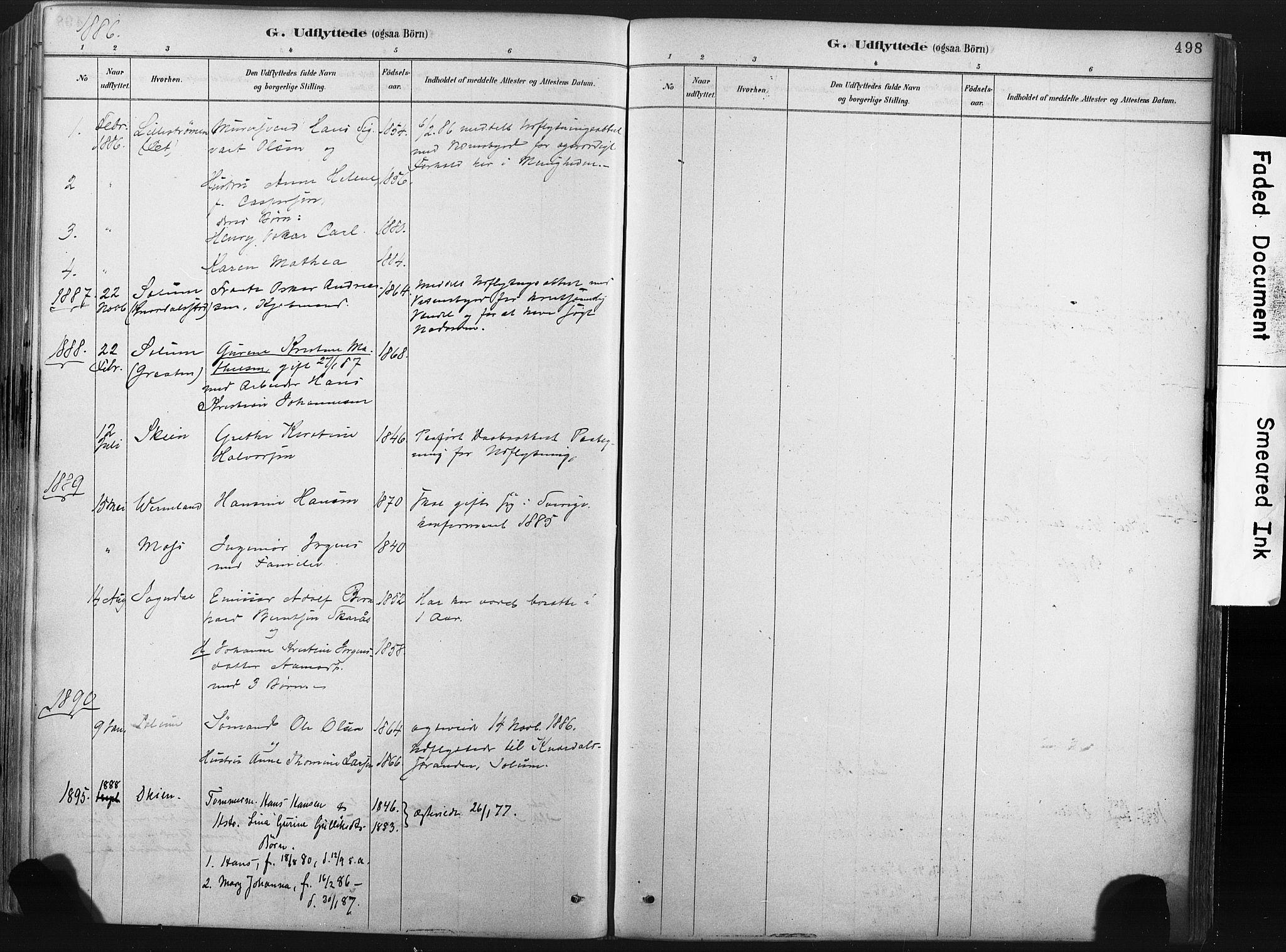 SAKO, Porsgrunn kirkebøker , F/Fa/L0008: Ministerialbok nr. 8, 1878-1895, s. 498