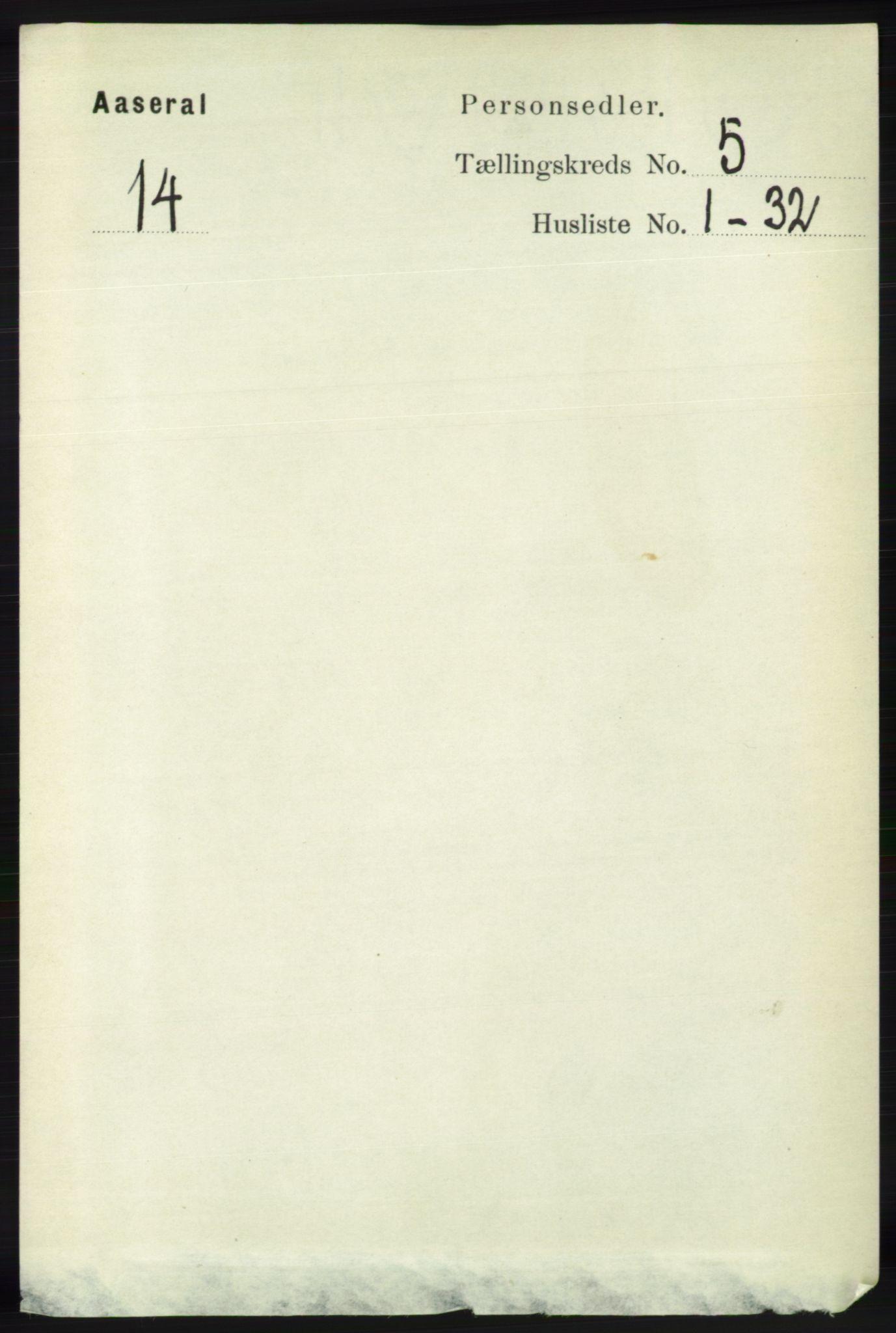 RA, Folketelling 1891 for 1026 Åseral herred, 1891, s. 1449