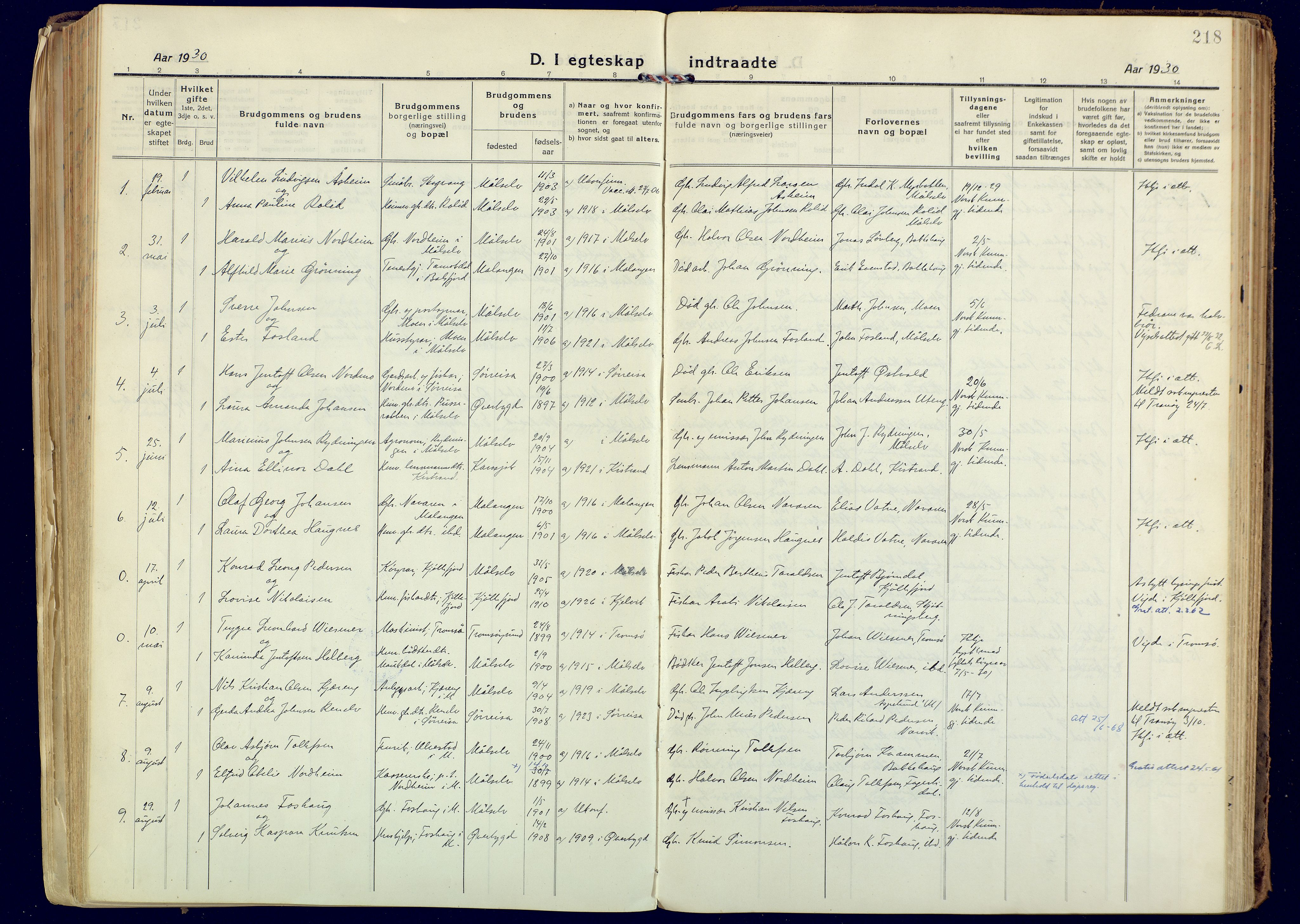 SATØ, Målselv sokneprestembete, Ministerialbok nr. 14, 1919-1932, s. 218