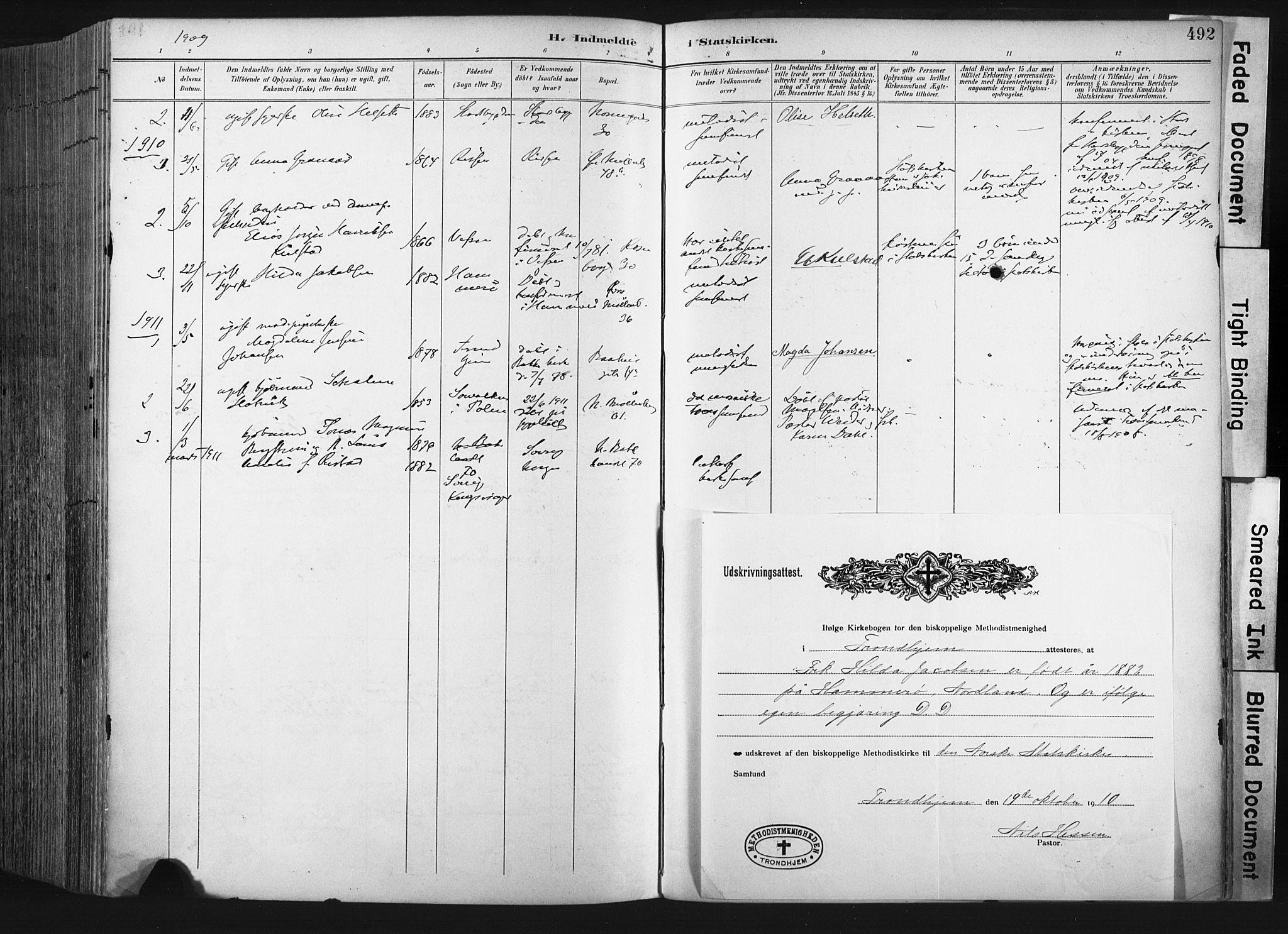 SAT, Ministerialprotokoller, klokkerbøker og fødselsregistre - Sør-Trøndelag, 604/L0201: Ministerialbok nr. 604A21, 1901-1911, s. 492