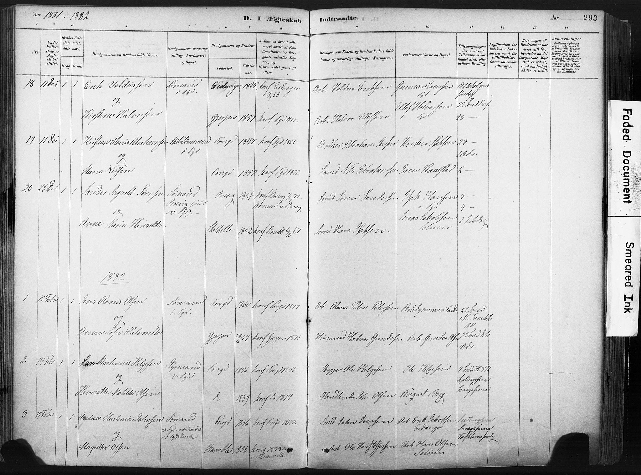 SAKO, Porsgrunn kirkebøker , F/Fa/L0008: Ministerialbok nr. 8, 1878-1895, s. 293