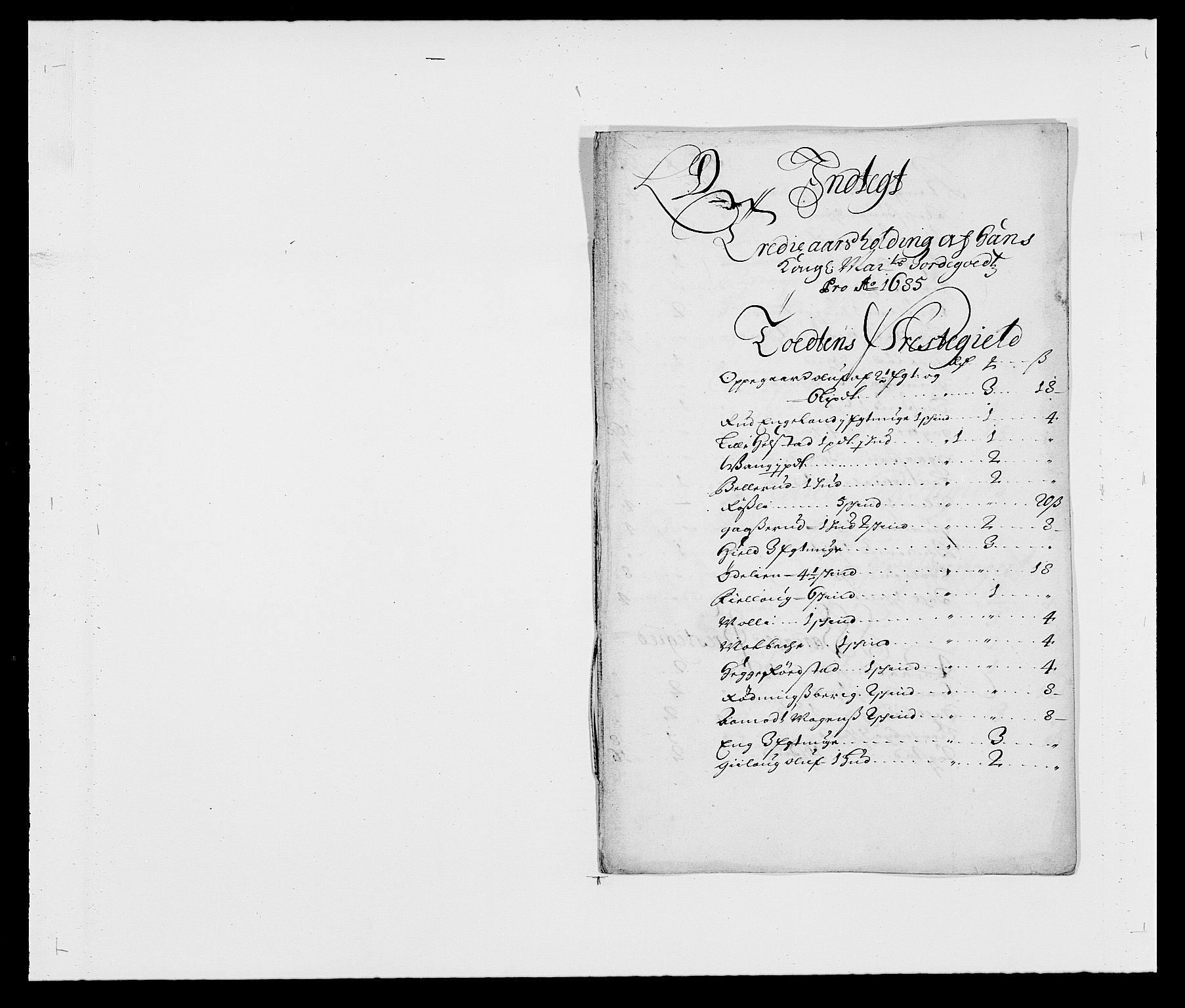 RA, Rentekammeret inntil 1814, Reviderte regnskaper, Fogderegnskap, R18/L1284: Fogderegnskap Hadeland, Toten og Valdres, 1685, s. 134