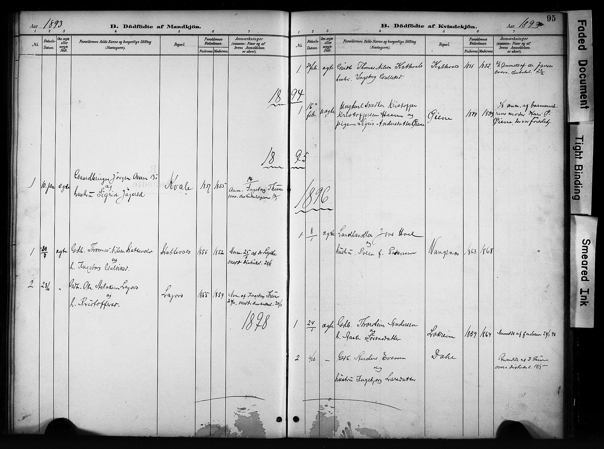 SAH, Vang prestekontor, Valdres, Klokkerbok nr. 6, 1893-1918, s. 95