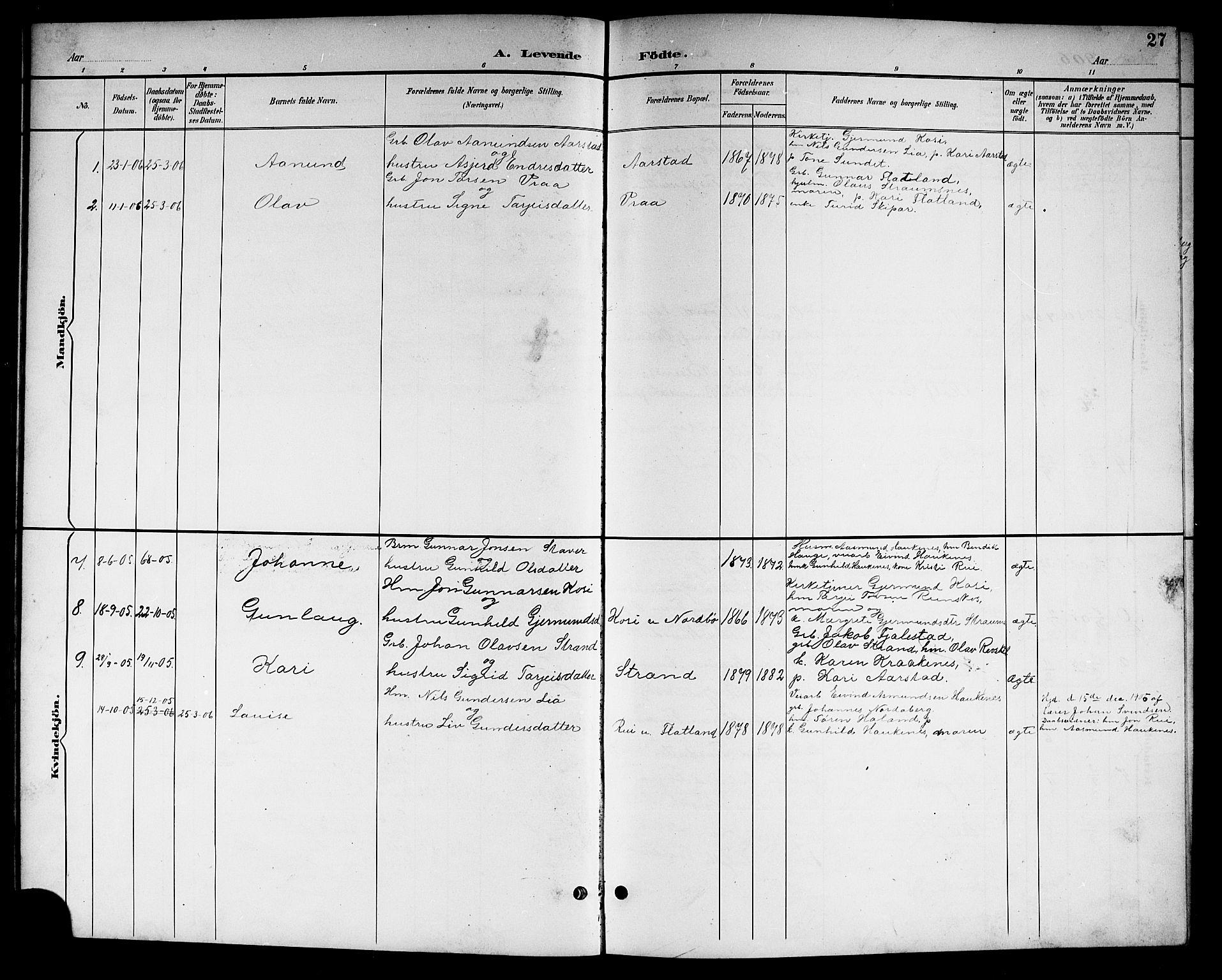 SAKO, Kviteseid kirkebøker, G/Gc/L0001: Klokkerbok nr. III 1, 1893-1916, s. 27