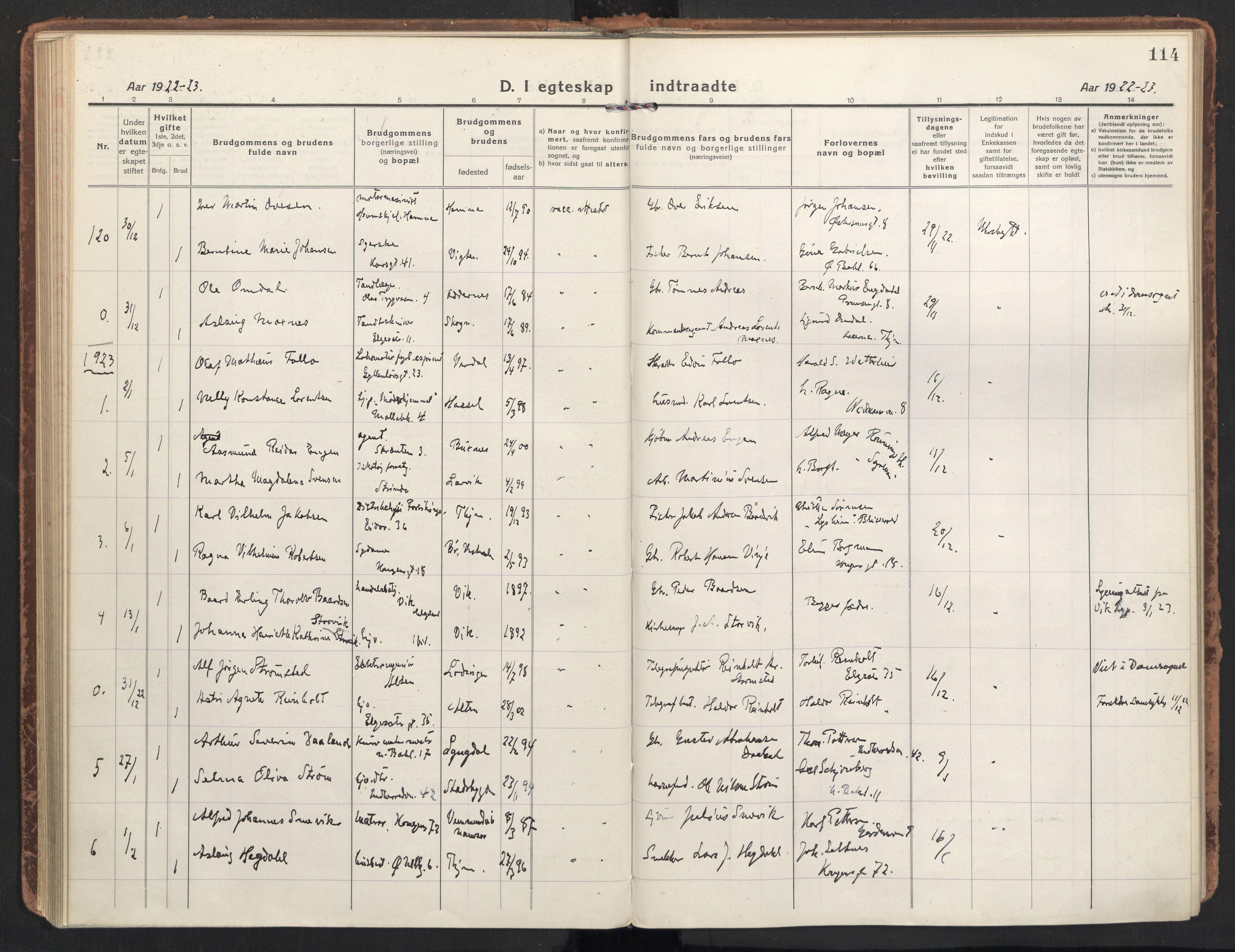 SAT, Ministerialprotokoller, klokkerbøker og fødselsregistre - Sør-Trøndelag, 604/L0206: Ministerialbok nr. 604A26, 1917-1931, s. 114