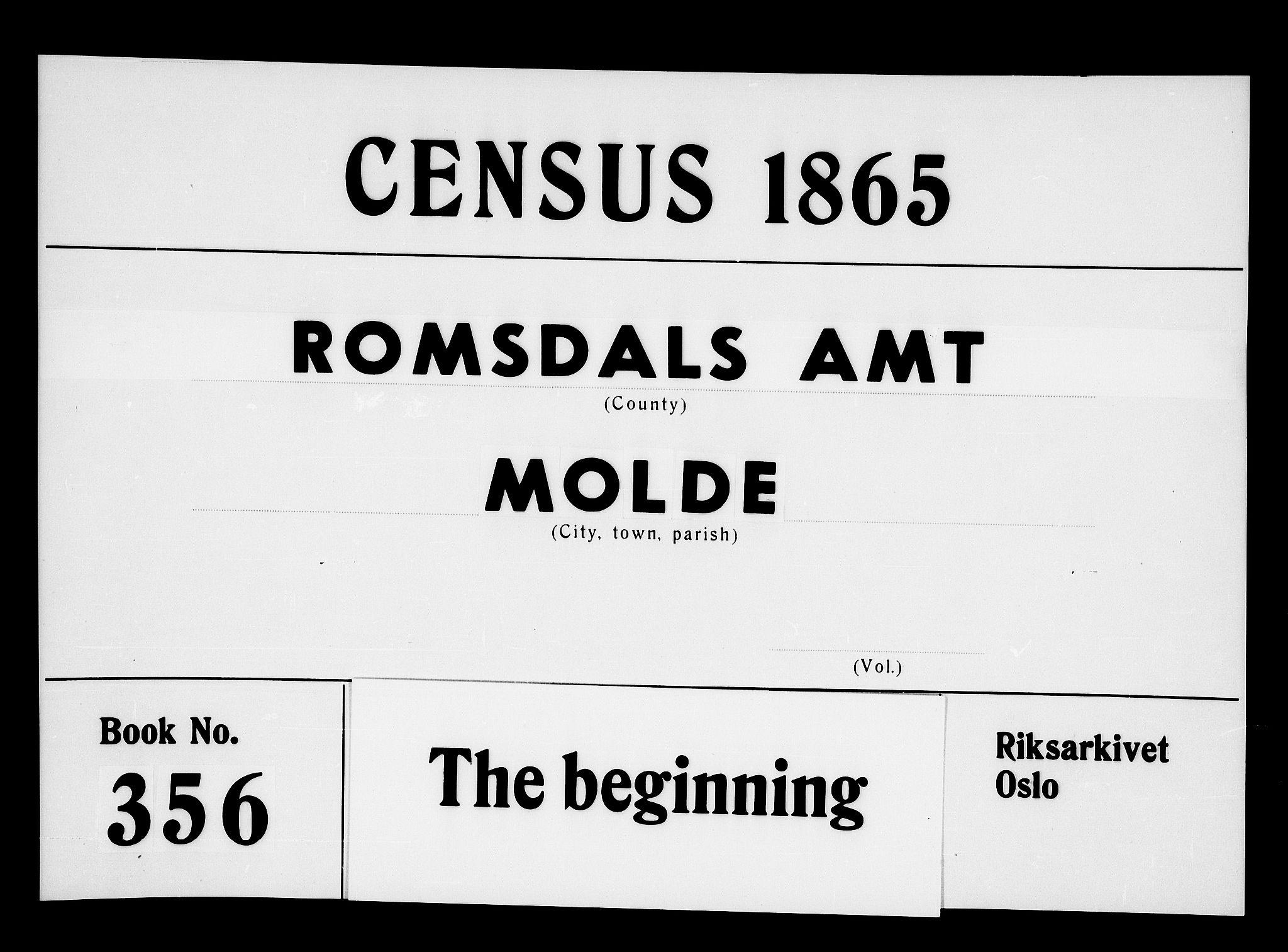 RA, Folketelling 1865 for 1502P Molde prestegjeld, 1865, s. 1