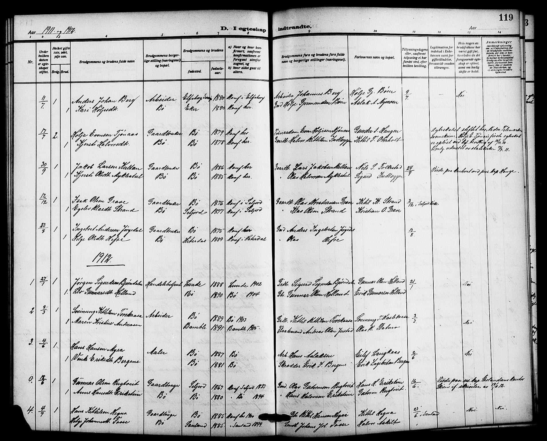 SAKO, Bø kirkebøker, G/Ga/L0007: Klokkerbok nr. 7, 1909-1924, s. 119