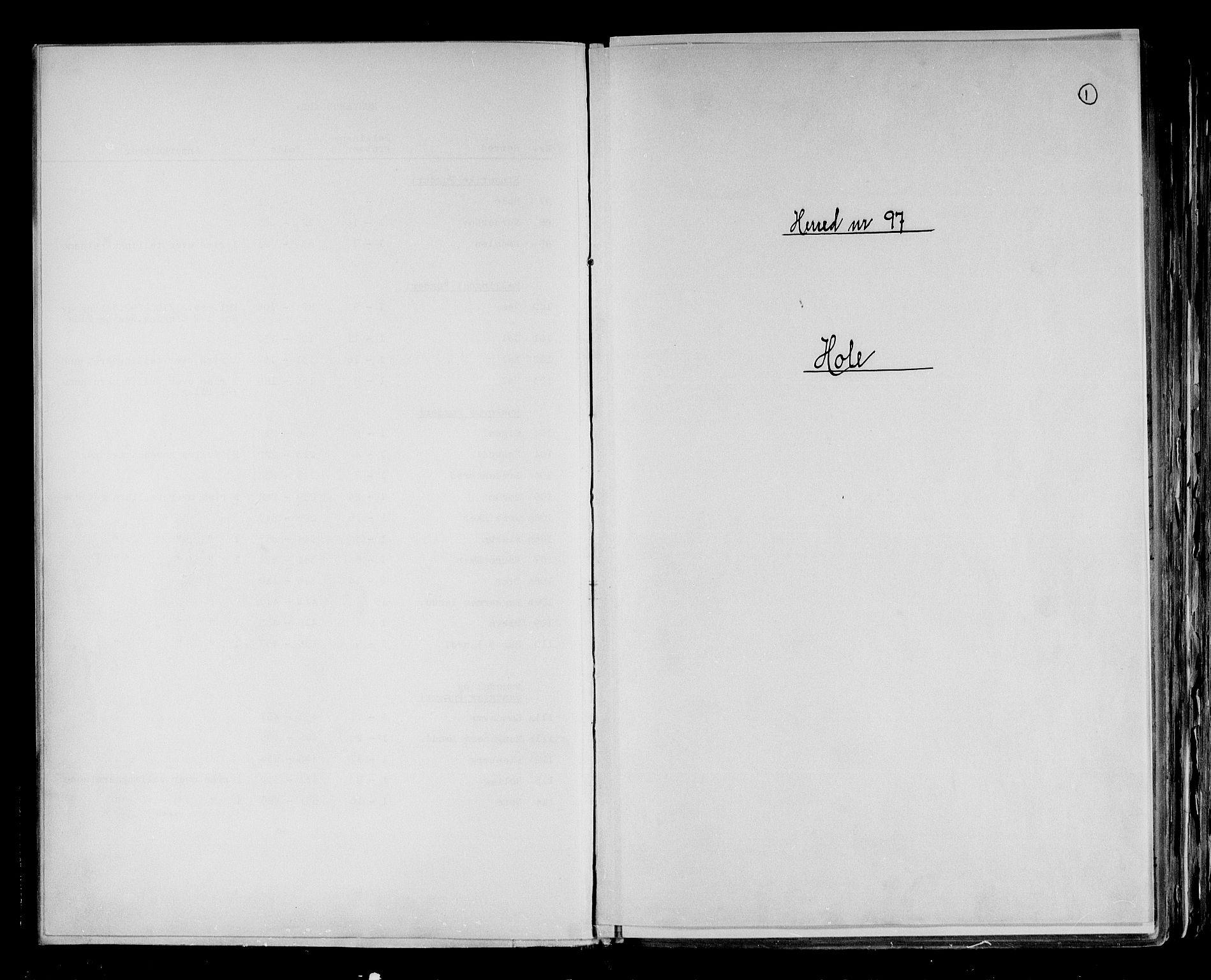 RA, Folketelling 1891 for 0612 Hole herred, 1891, s. 1