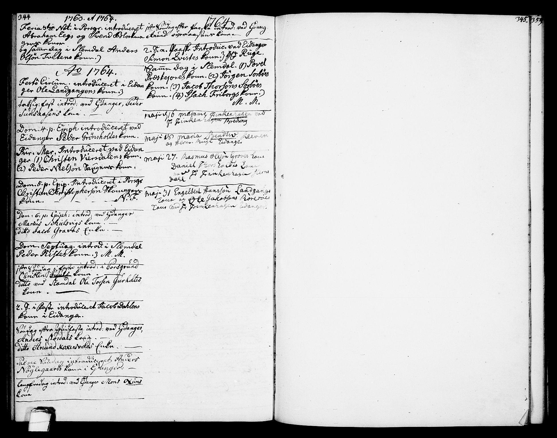 SAKO, Eidanger kirkebøker, F/Fa/L0005: Ministerialbok nr. 5, 1760-1764, s. 344-345