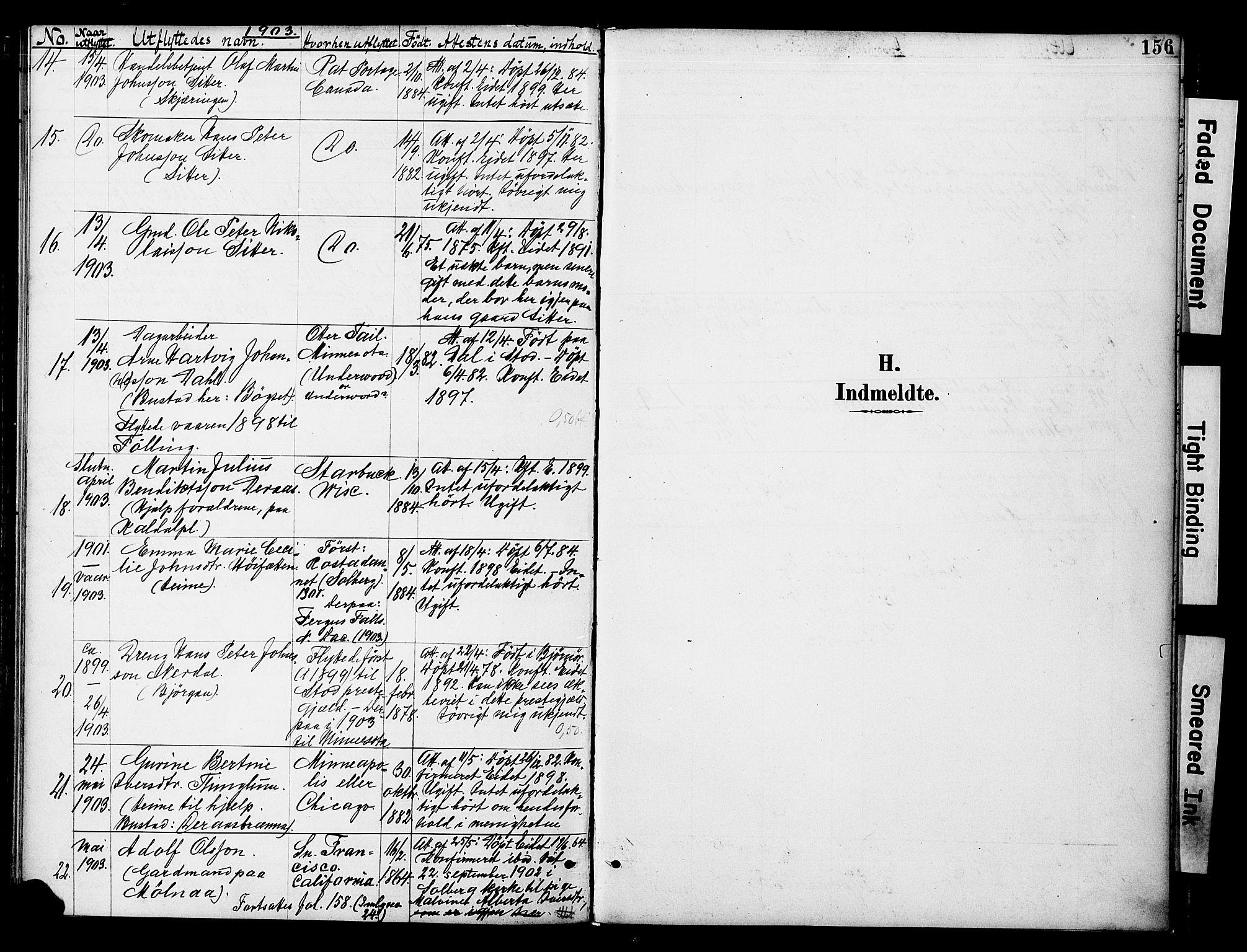 SAT, Ministerialprotokoller, klokkerbøker og fødselsregistre - Nord-Trøndelag, 742/L0409: Ministerialbok nr. 742A02, 1891-1905, s. 156