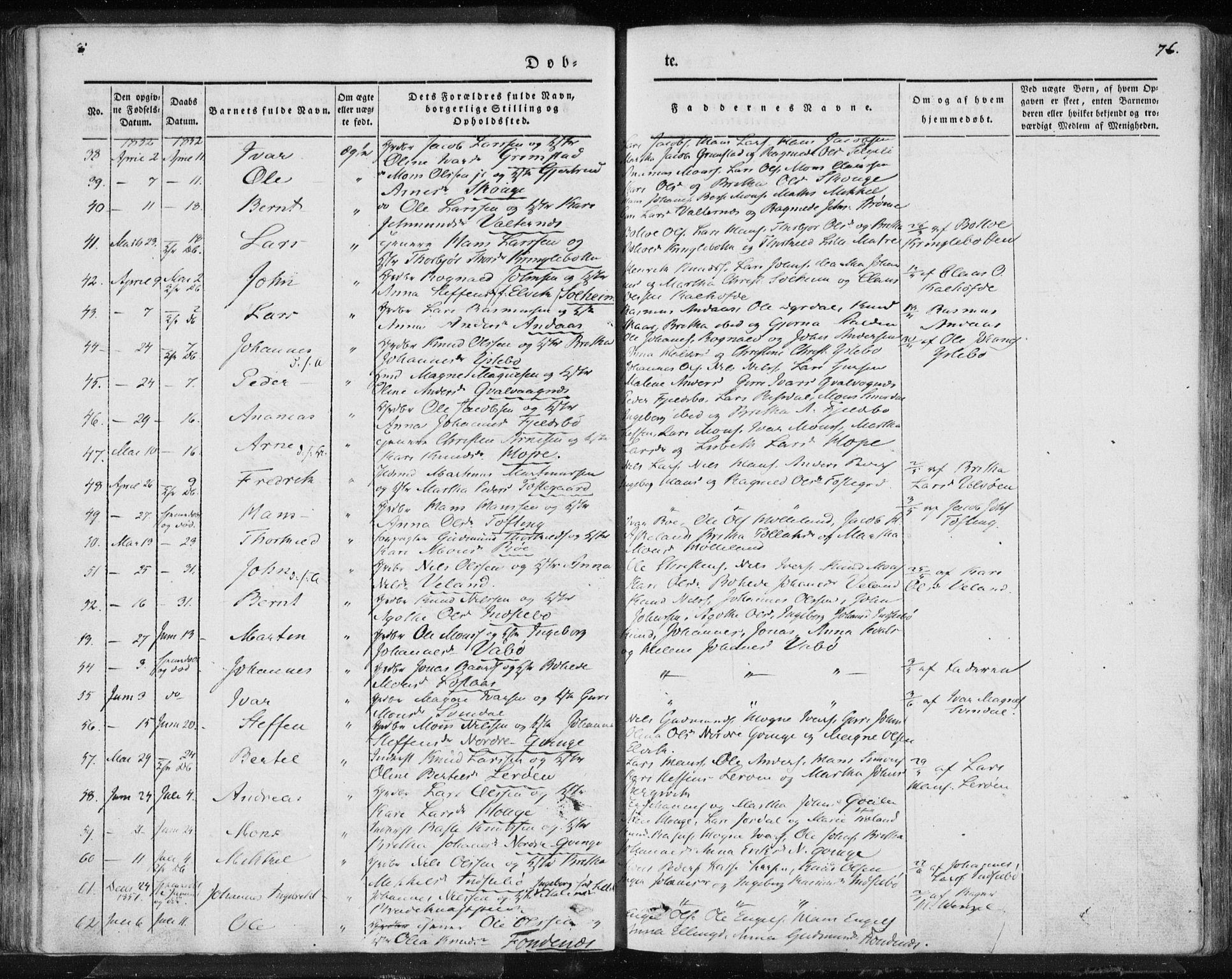 SAB, Lindås Sokneprestembete, H/Haa: Ministerialbok nr. A 10, 1842-1862, s. 76
