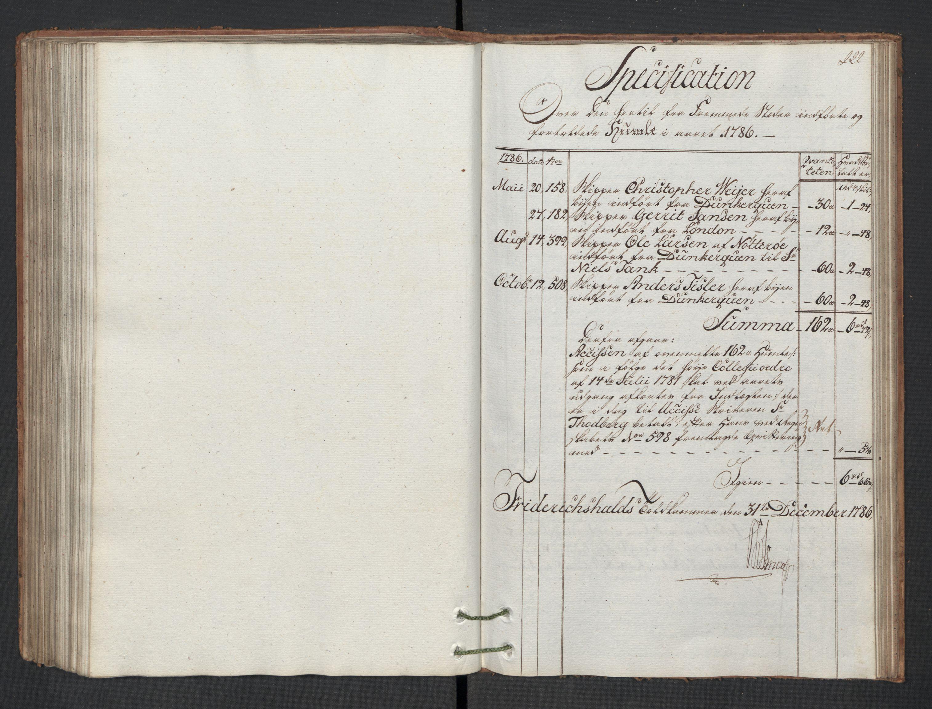 RA, Generaltollkammeret, tollregnskaper, R01/L0130: Tollregnskaper Fredrikshald, 1786, s. 221b-222a