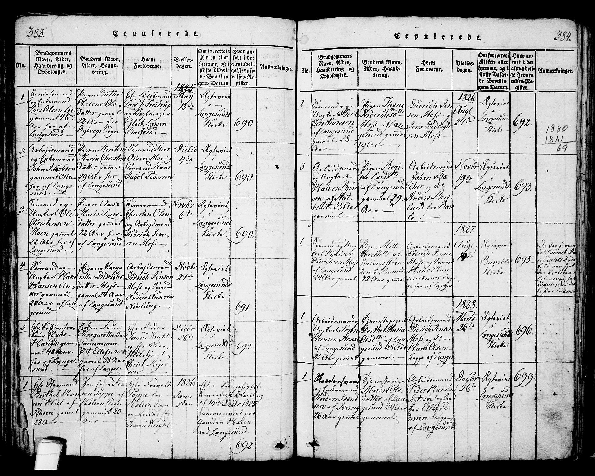 SAKO, Langesund kirkebøker, G/Ga/L0003: Klokkerbok nr. 3, 1815-1858, s. 383-384