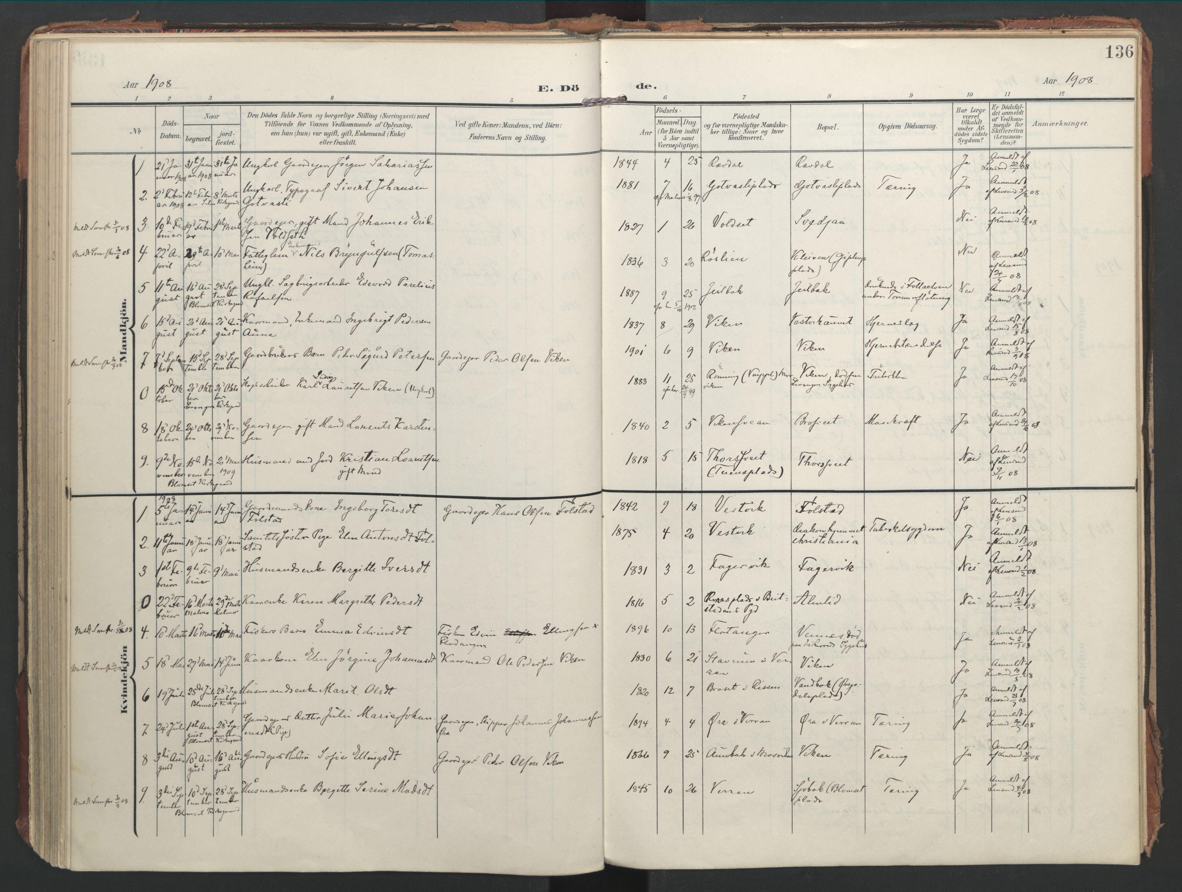 SAT, Ministerialprotokoller, klokkerbøker og fødselsregistre - Nord-Trøndelag, 744/L0421: Ministerialbok nr. 744A05, 1905-1930, s. 136