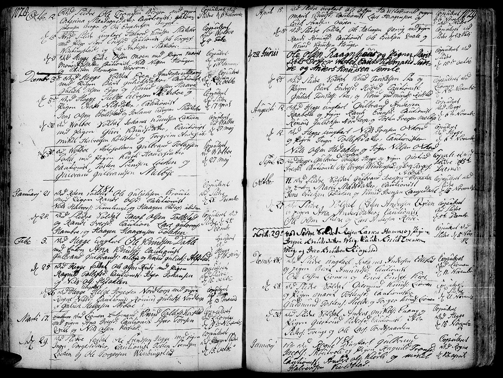 SAH, Slidre prestekontor, Ministerialbok nr. 1, 1724-1814, s. 1028-1029