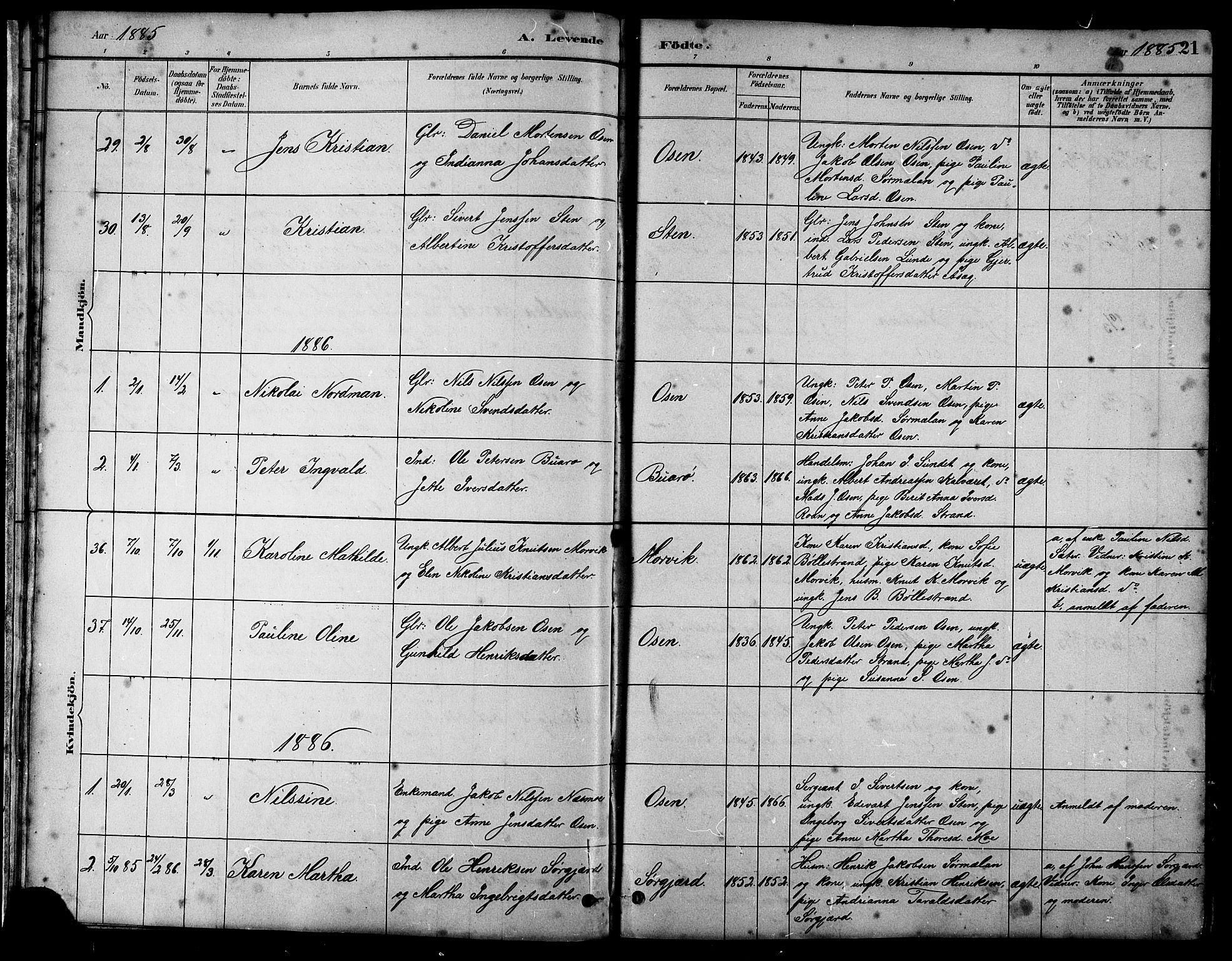 SAT, Ministerialprotokoller, klokkerbøker og fødselsregistre - Sør-Trøndelag, 658/L0726: Klokkerbok nr. 658C02, 1883-1908, s. 21