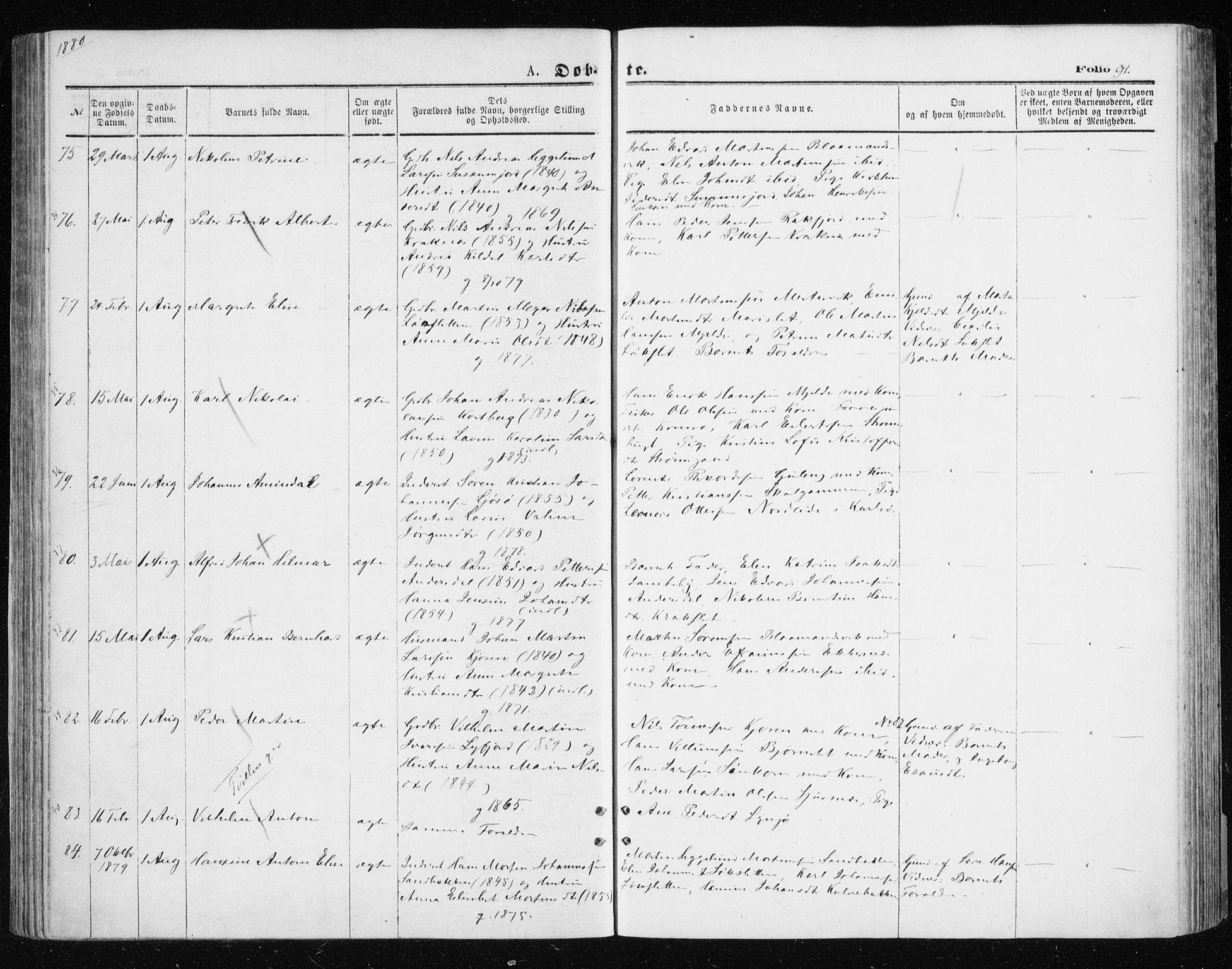 SATØ, Tromsøysund sokneprestkontor, G/Ga/L0003kirke: Ministerialbok nr. 3, 1875-1880, s. 91