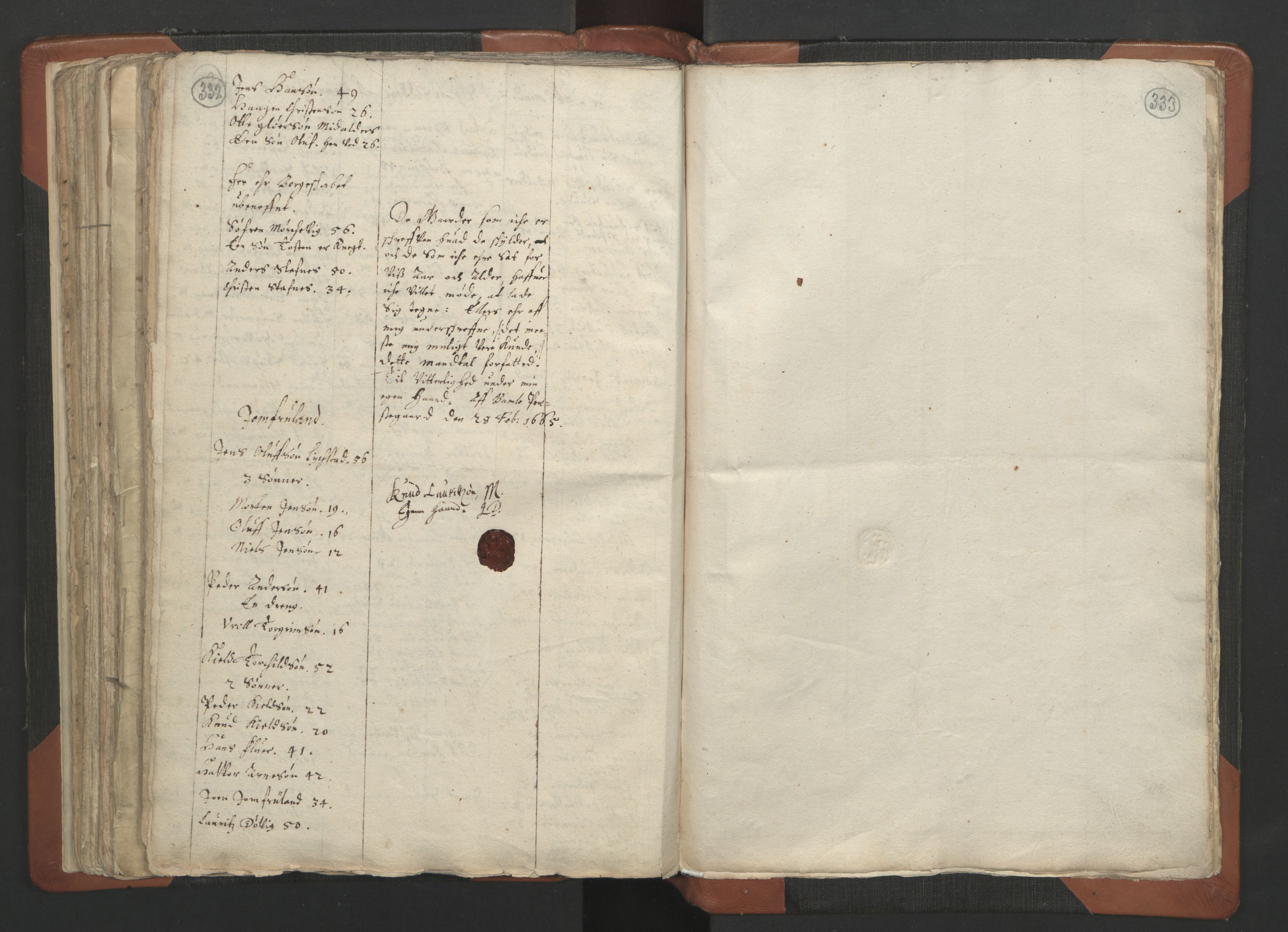 RA, Sogneprestenes manntall 1664-1666, nr. 12: Øvre Telemark prosti, Nedre Telemark prosti og Bamble prosti, 1664-1666, s. 332-333
