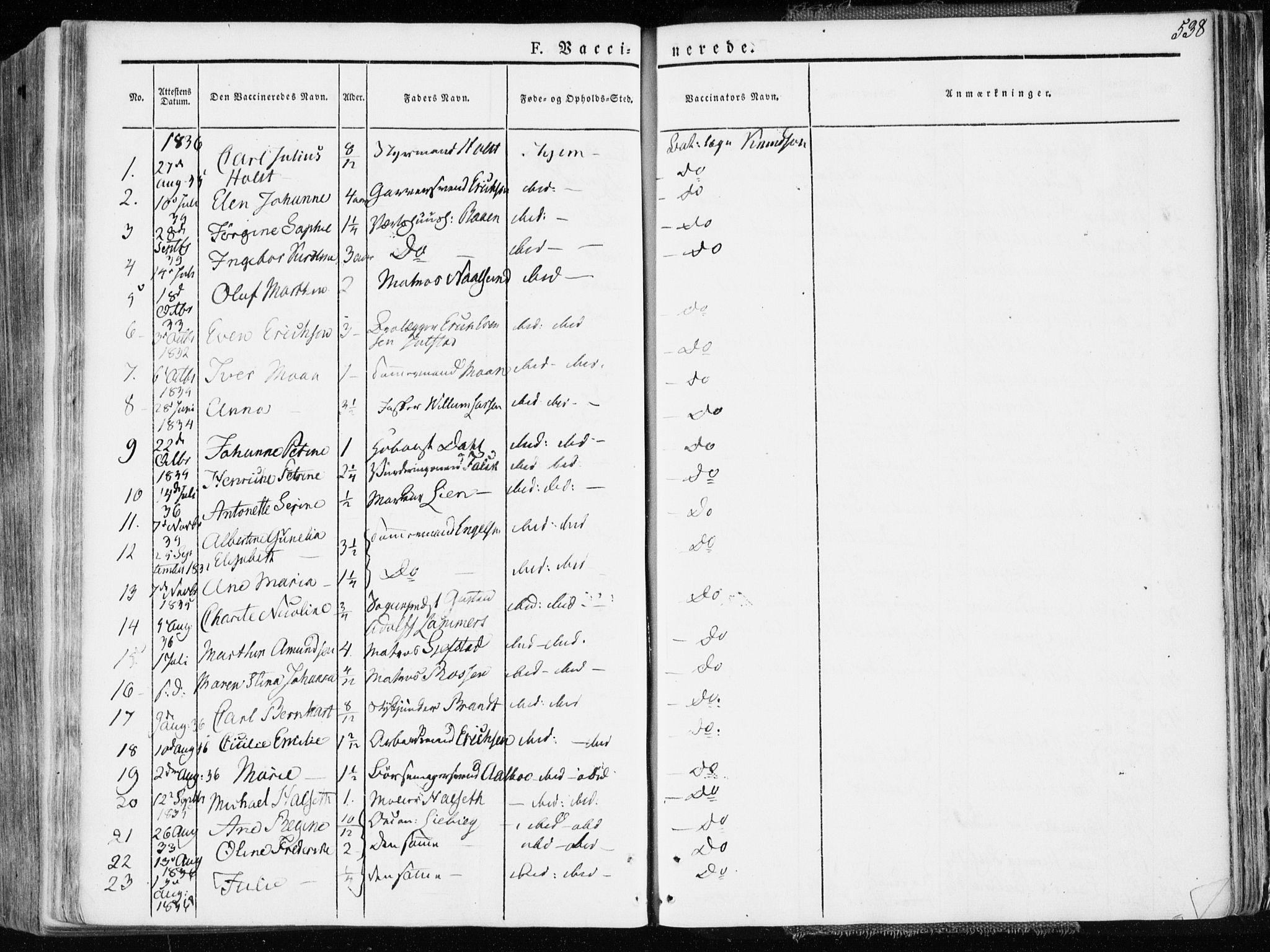 SAT, Ministerialprotokoller, klokkerbøker og fødselsregistre - Sør-Trøndelag, 601/L0047: Ministerialbok nr. 601A15, 1831-1839, s. 538