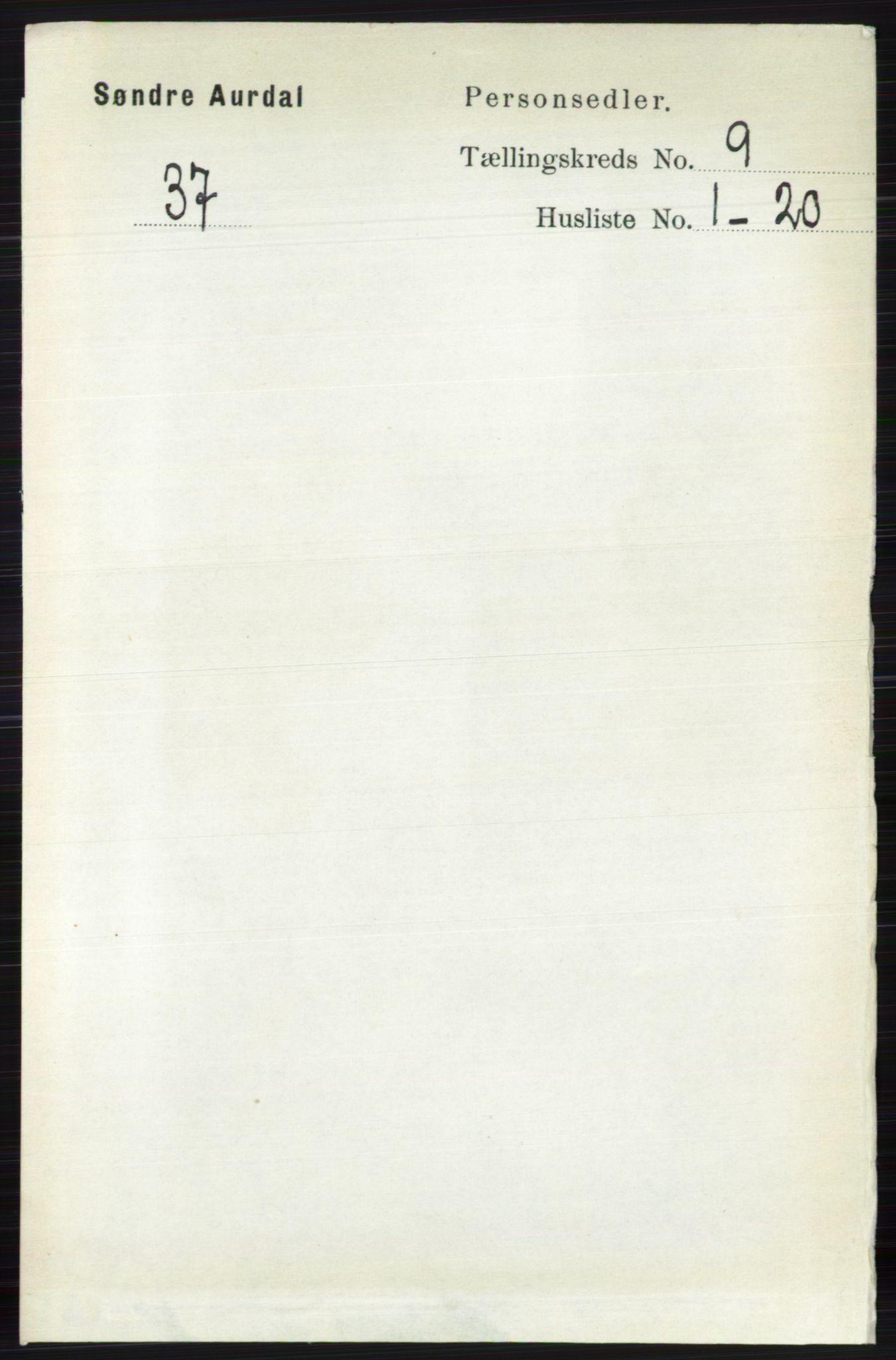 RA, Folketelling 1891 for 0540 Sør-Aurdal herred, 1891, s. 5537