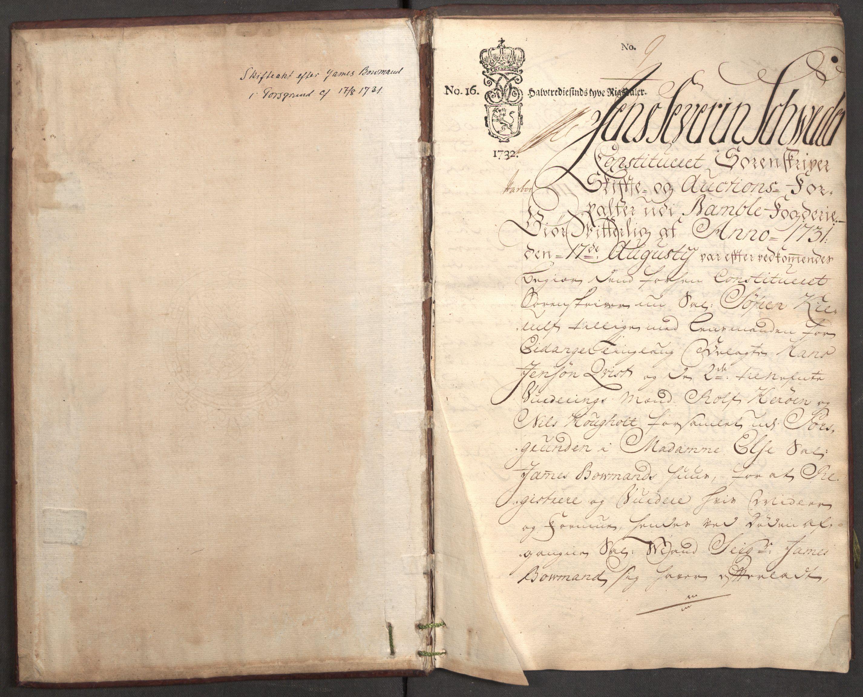 RA, Bowman, James, F/L0002, 1731-1732, s. 2