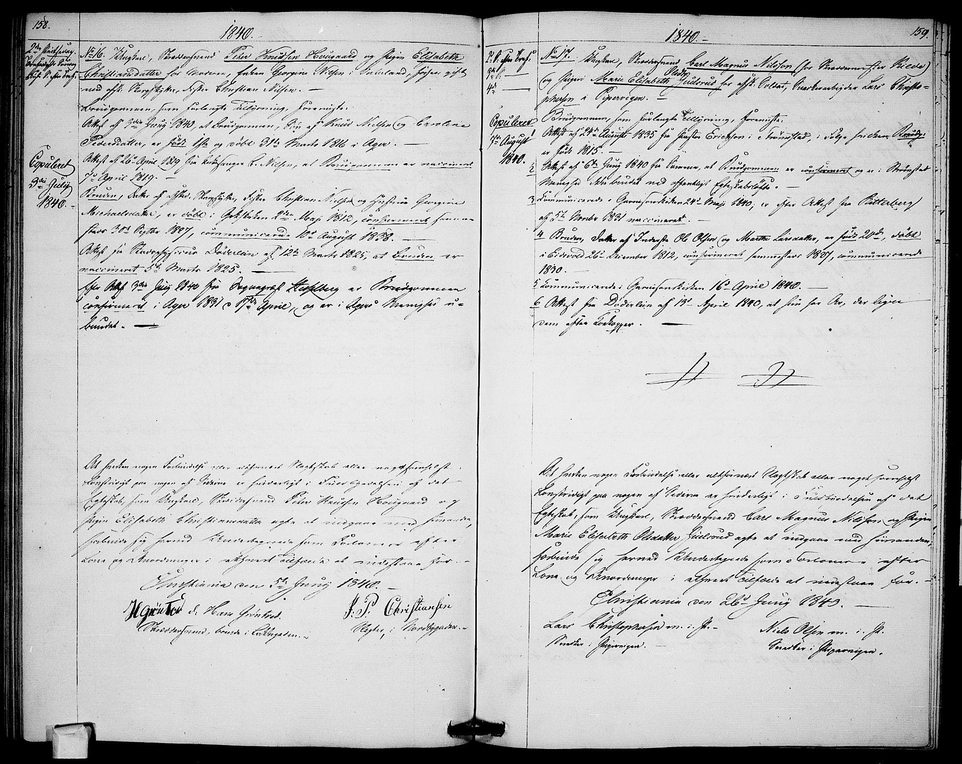 SAO, Garnisonsmenigheten Kirkebøker, H/Ha/L0003: Lysningsprotokoll nr. I 3, 1835-1840, s. 158-159
