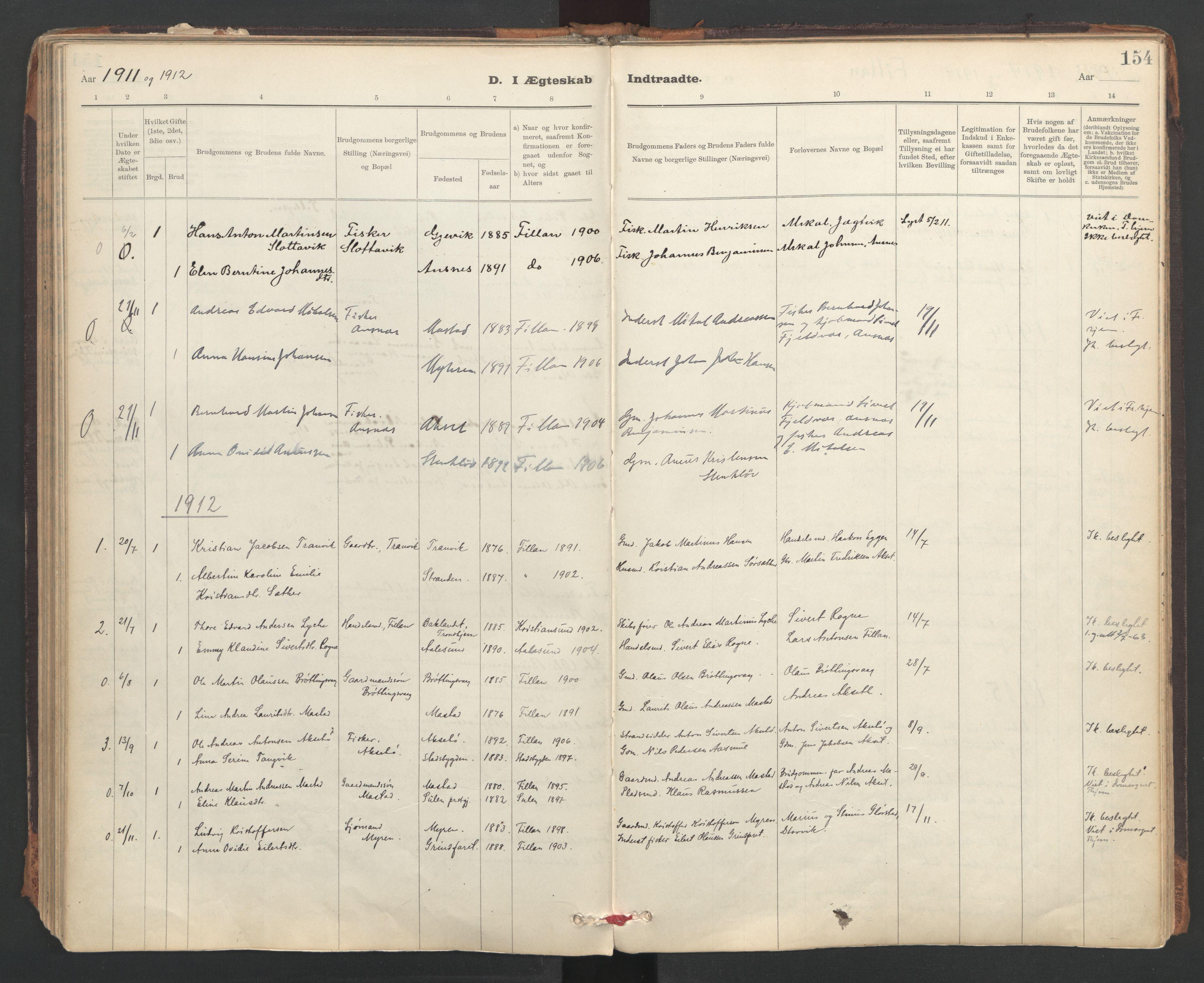 SAT, Ministerialprotokoller, klokkerbøker og fødselsregistre - Sør-Trøndelag, 637/L0559: Ministerialbok nr. 637A02, 1899-1923, s. 154