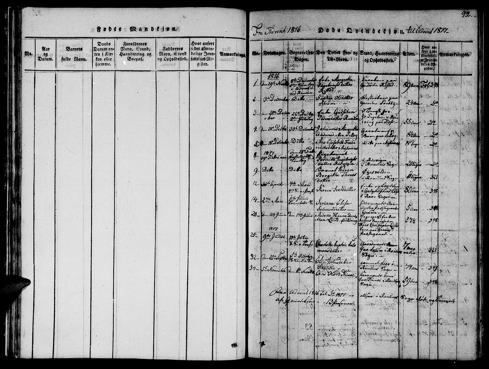 SAT, Ministerialprotokoller, klokkerbøker og fødselsregistre - Nord-Trøndelag, 764/L0559: Klokkerbok nr. 764C01, 1816-1824, s. 92