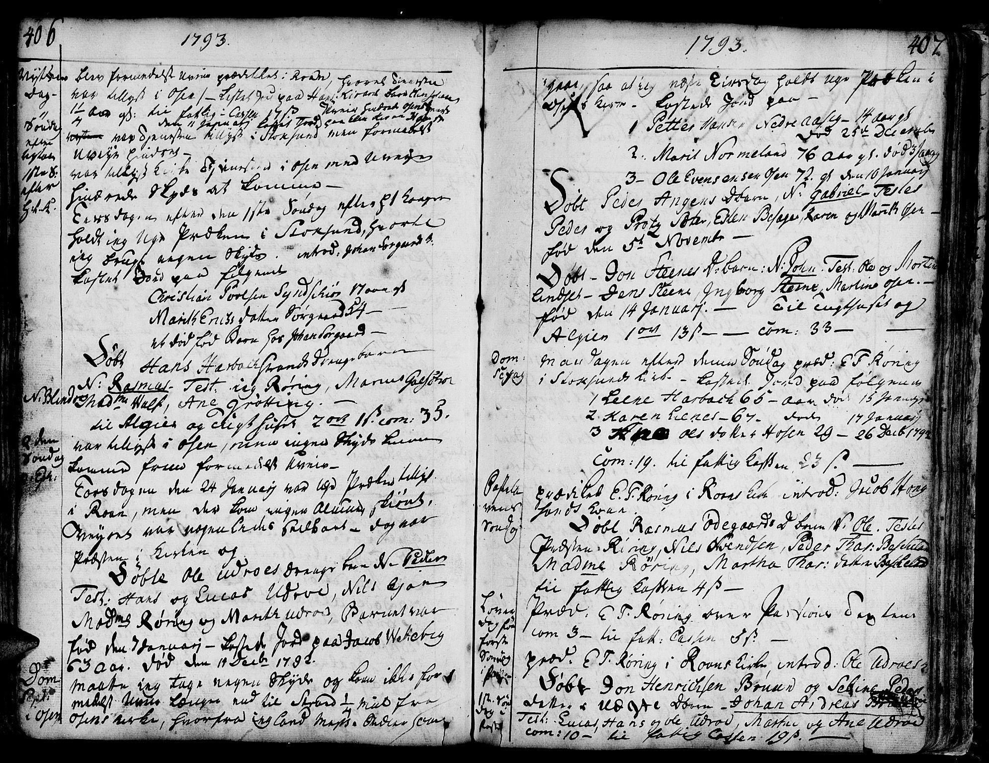 SAT, Ministerialprotokoller, klokkerbøker og fødselsregistre - Sør-Trøndelag, 657/L0700: Ministerialbok nr. 657A01, 1732-1801, s. 406-407