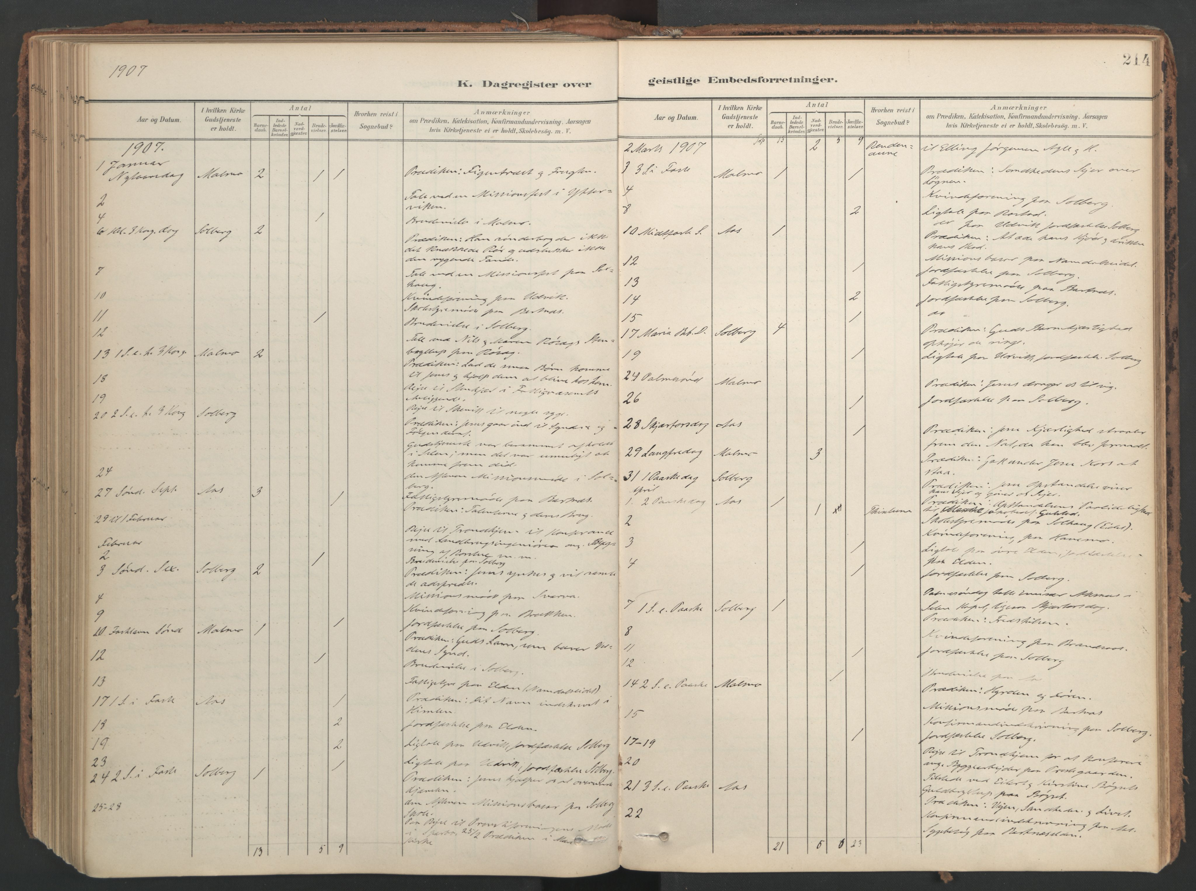 SAT, Ministerialprotokoller, klokkerbøker og fødselsregistre - Nord-Trøndelag, 741/L0397: Ministerialbok nr. 741A11, 1901-1911, s. 214