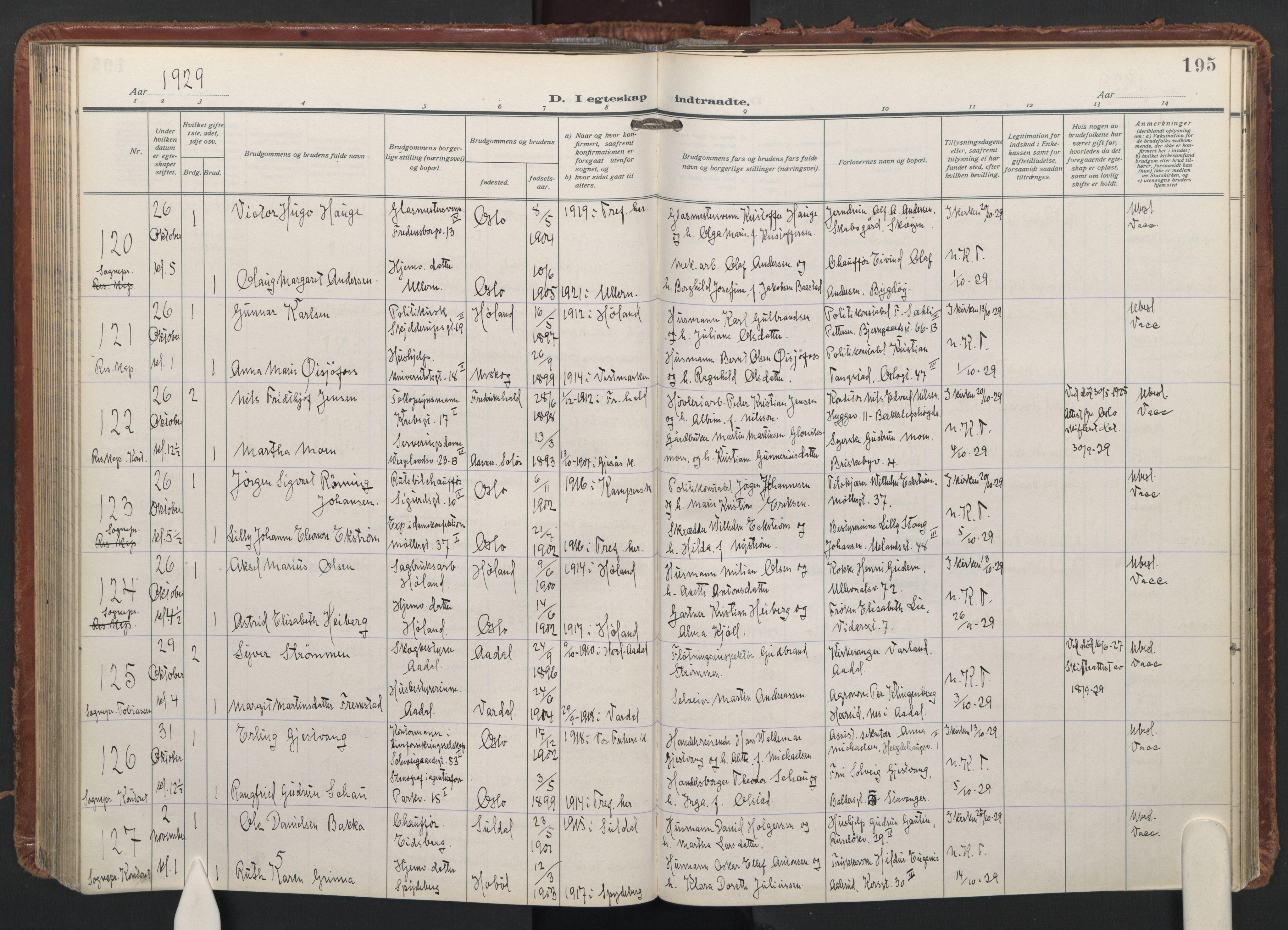 SAO, Trefoldighet prestekontor Kirkebøker, F/Fc/L0009: Ministerialbok nr. III 9, 1922-1936, s. 195
