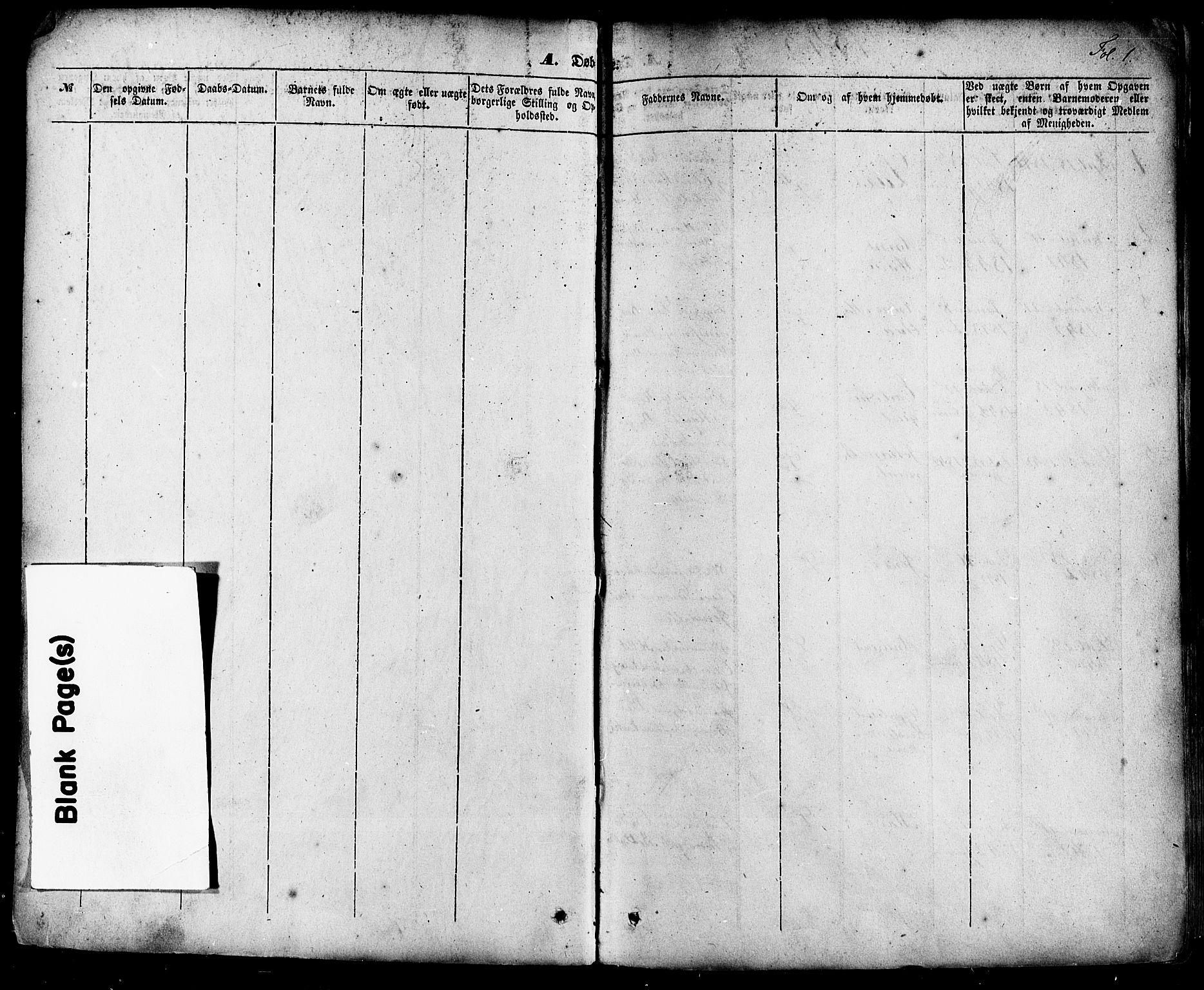SAKO, Skien kirkebøker, F/Fa/L0006a: Ministerialbok nr. 6A, 1843-1856, s. 1