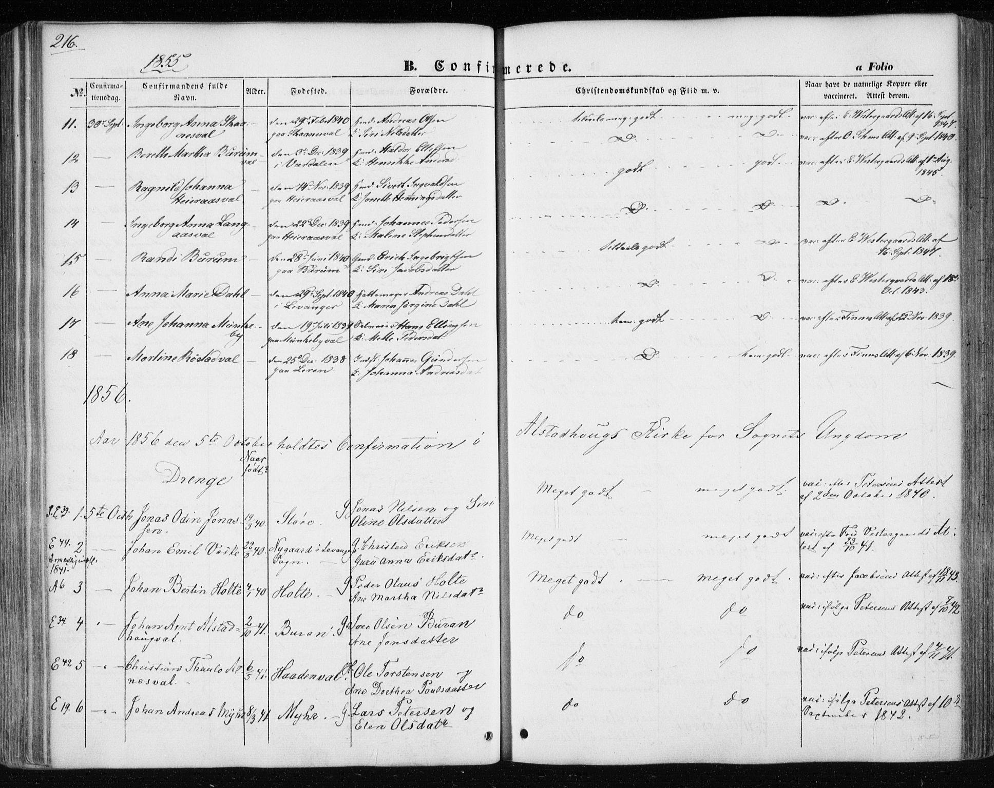 SAT, Ministerialprotokoller, klokkerbøker og fødselsregistre - Nord-Trøndelag, 717/L0154: Ministerialbok nr. 717A07 /1, 1850-1862, s. 216