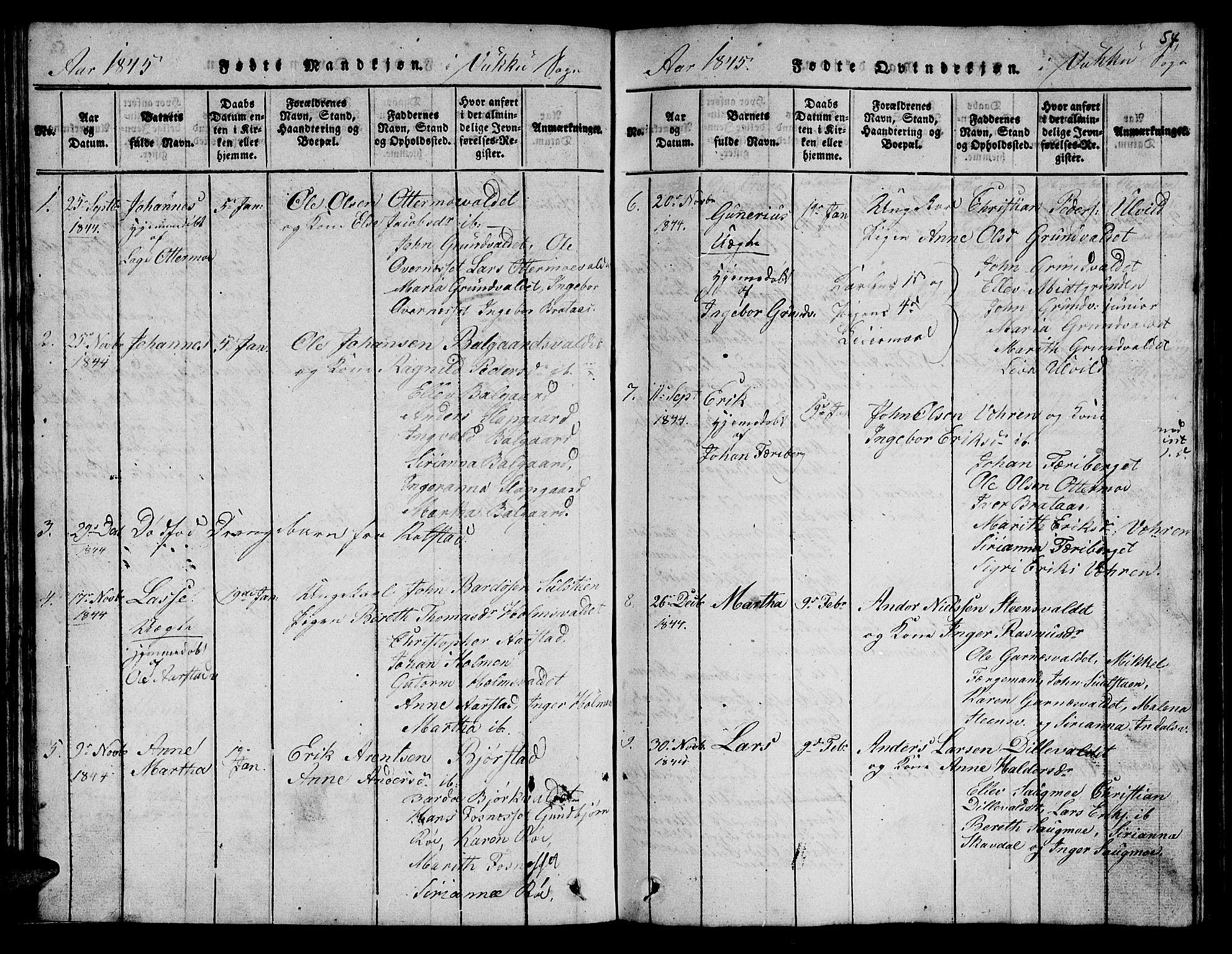 SAT, Ministerialprotokoller, klokkerbøker og fødselsregistre - Nord-Trøndelag, 723/L0251: Klokkerbok nr. 723C01 /2, 1843-1845, s. 54