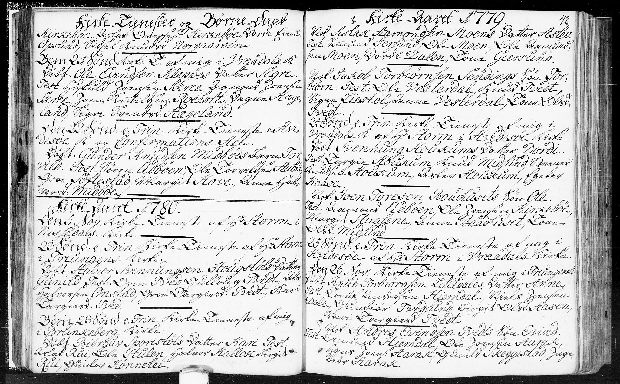 SAKO, Kviteseid kirkebøker, F/Fa/L0002: Ministerialbok nr. I 2, 1773-1786, s. 42