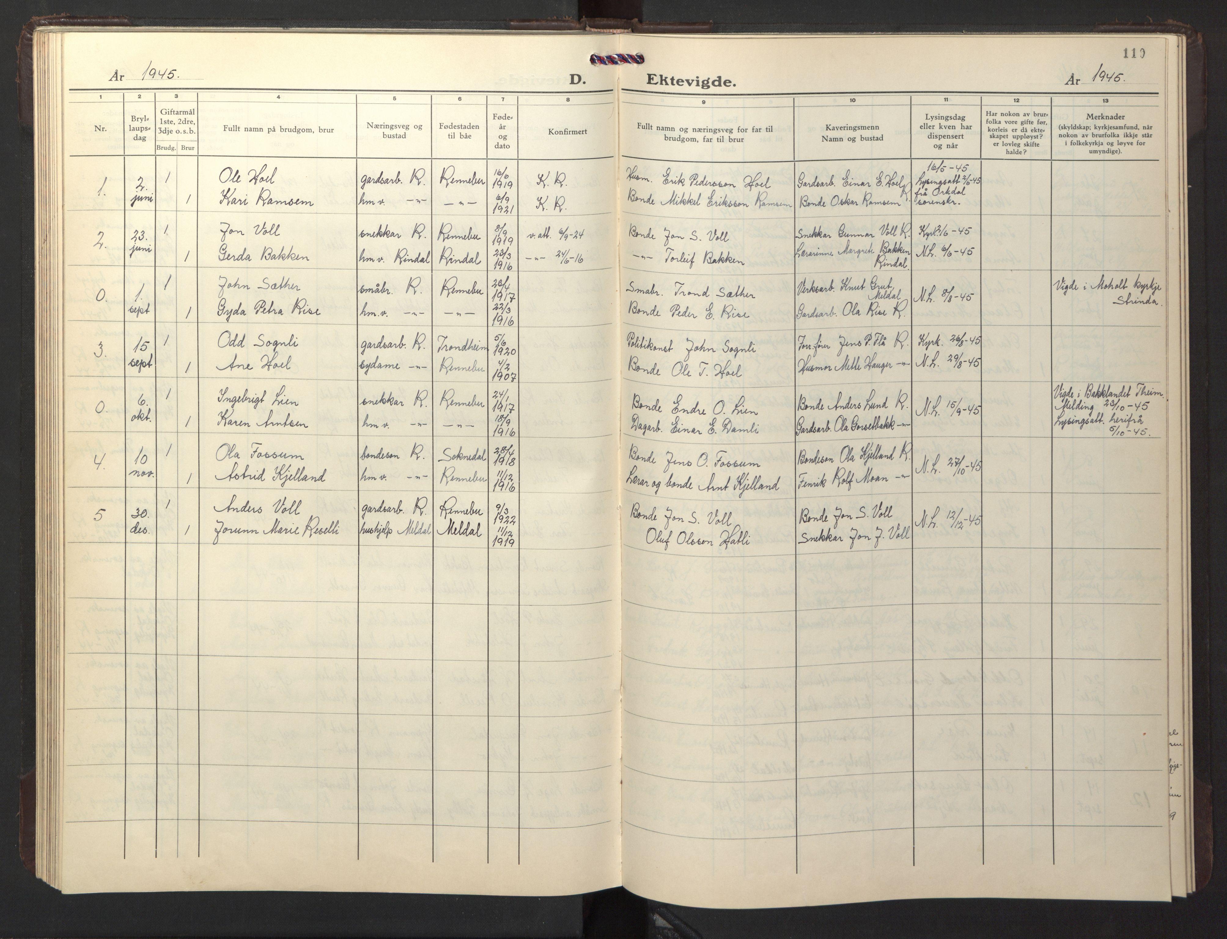 SAT, Ministerialprotokoller, klokkerbøker og fødselsregistre - Sør-Trøndelag, 674/L0878: Klokkerbok nr. 674C05, 1941-1950, s. 110