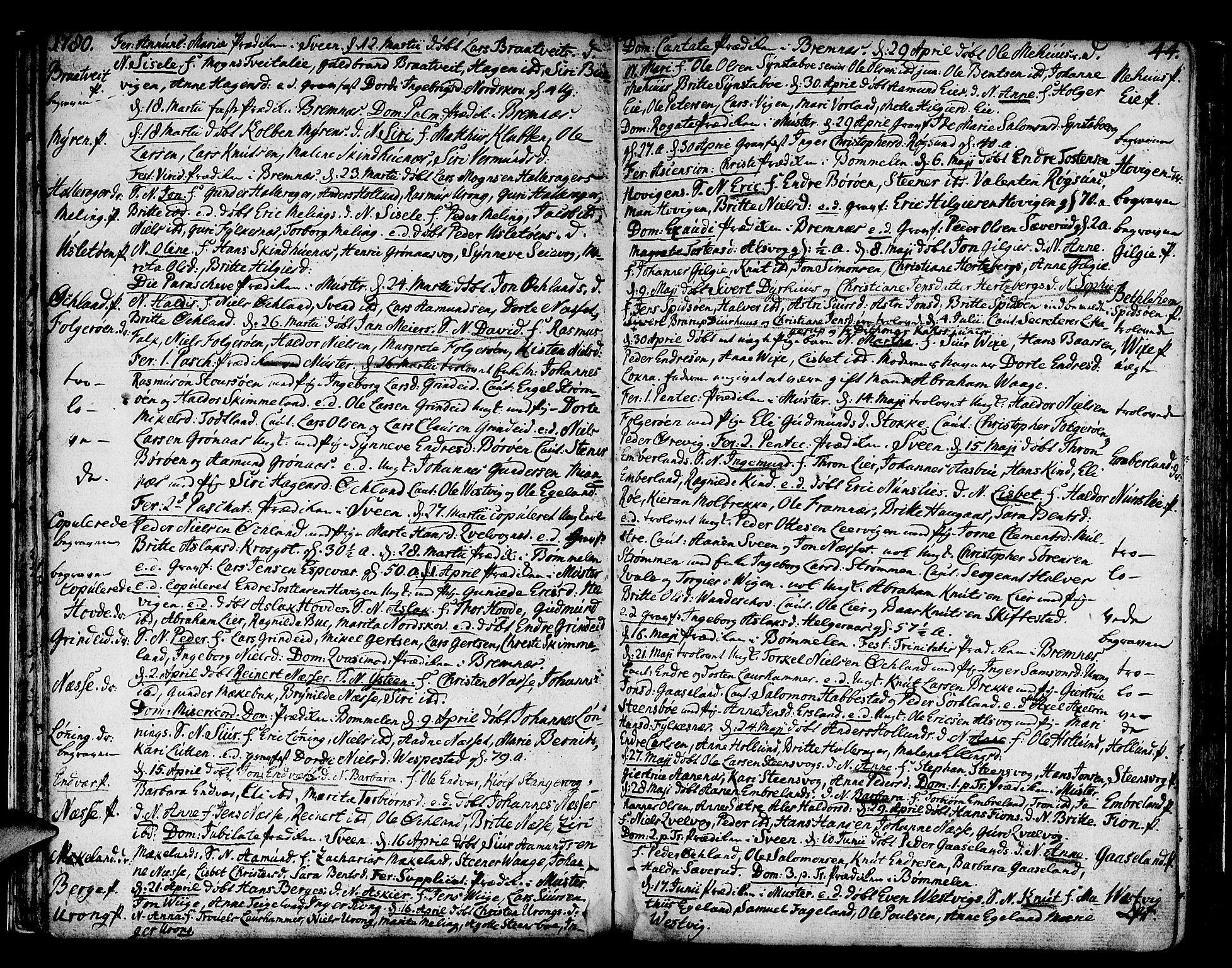 SAB, Finnås sokneprestembete, H/Ha/Haa/Haaa/L0003: Ministerialbok nr. A 3, 1765-1803, s. 44