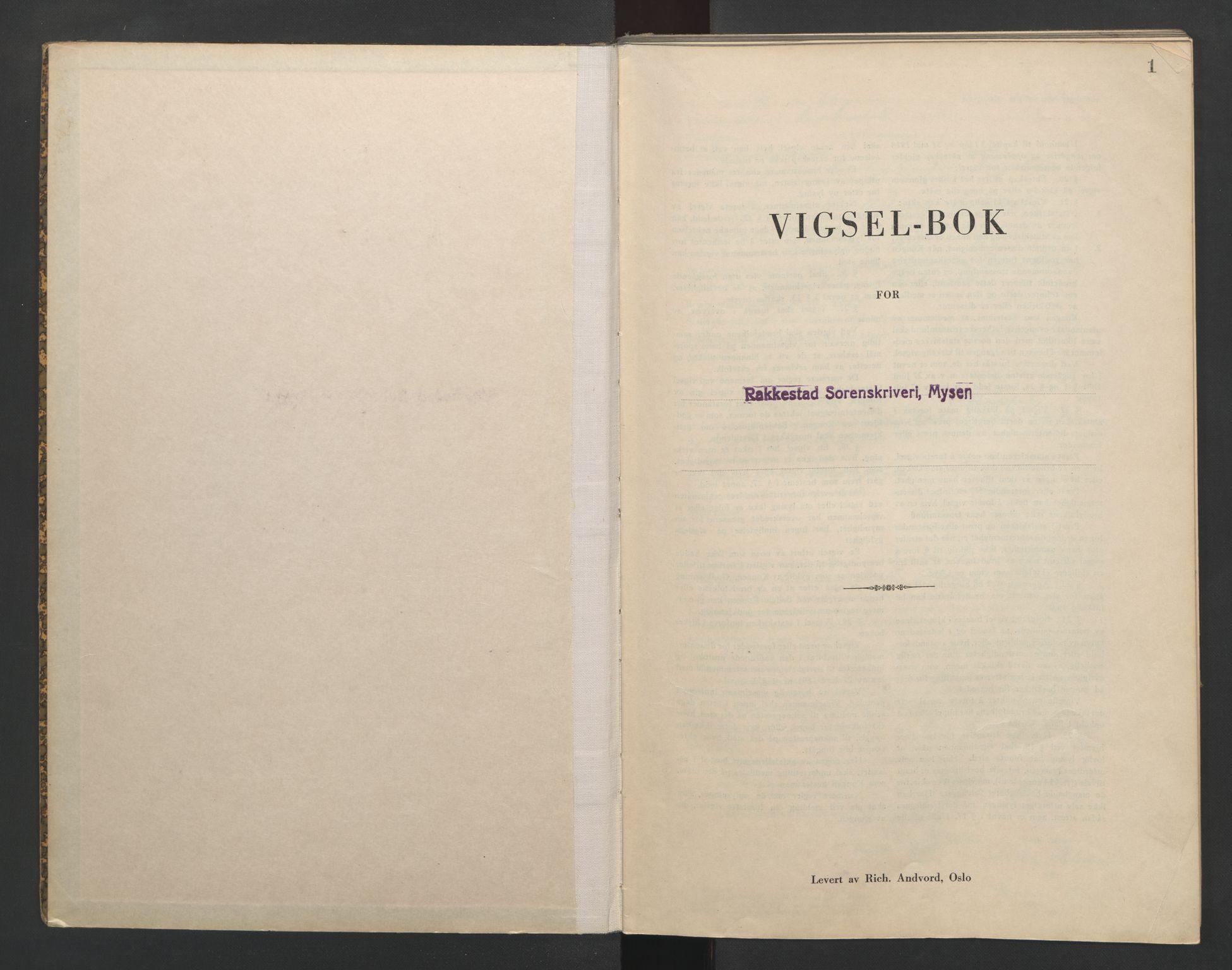 SAO, Rakkestad sorenskriveri, L/Lc/Lca/L0003: Vigselbøker, 1943-1944, s. 1