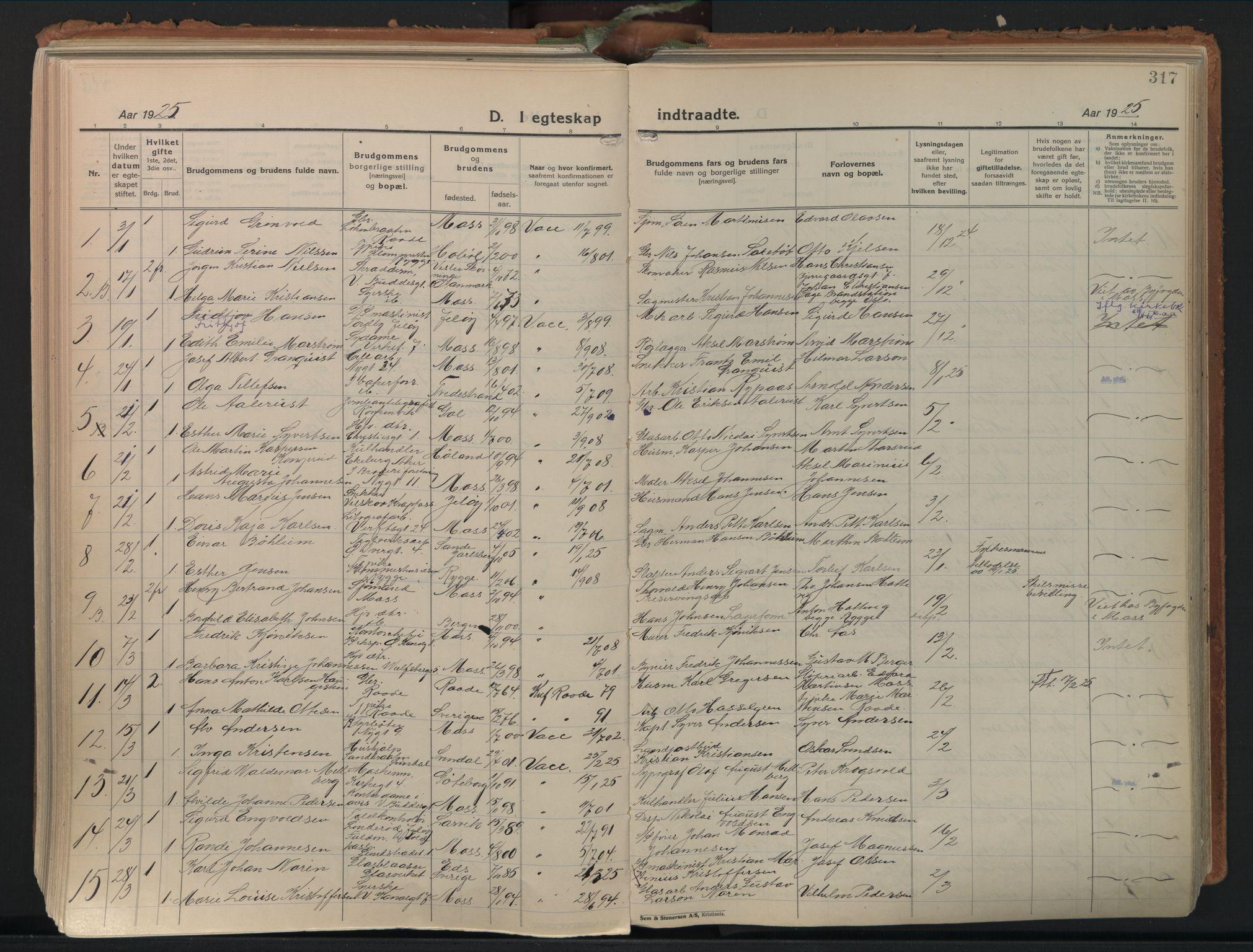 SAO, Moss prestekontor Kirkebøker, F/Fb/Fab/L0006: Ministerialbok nr. II 6, 1924-1932, s. 317