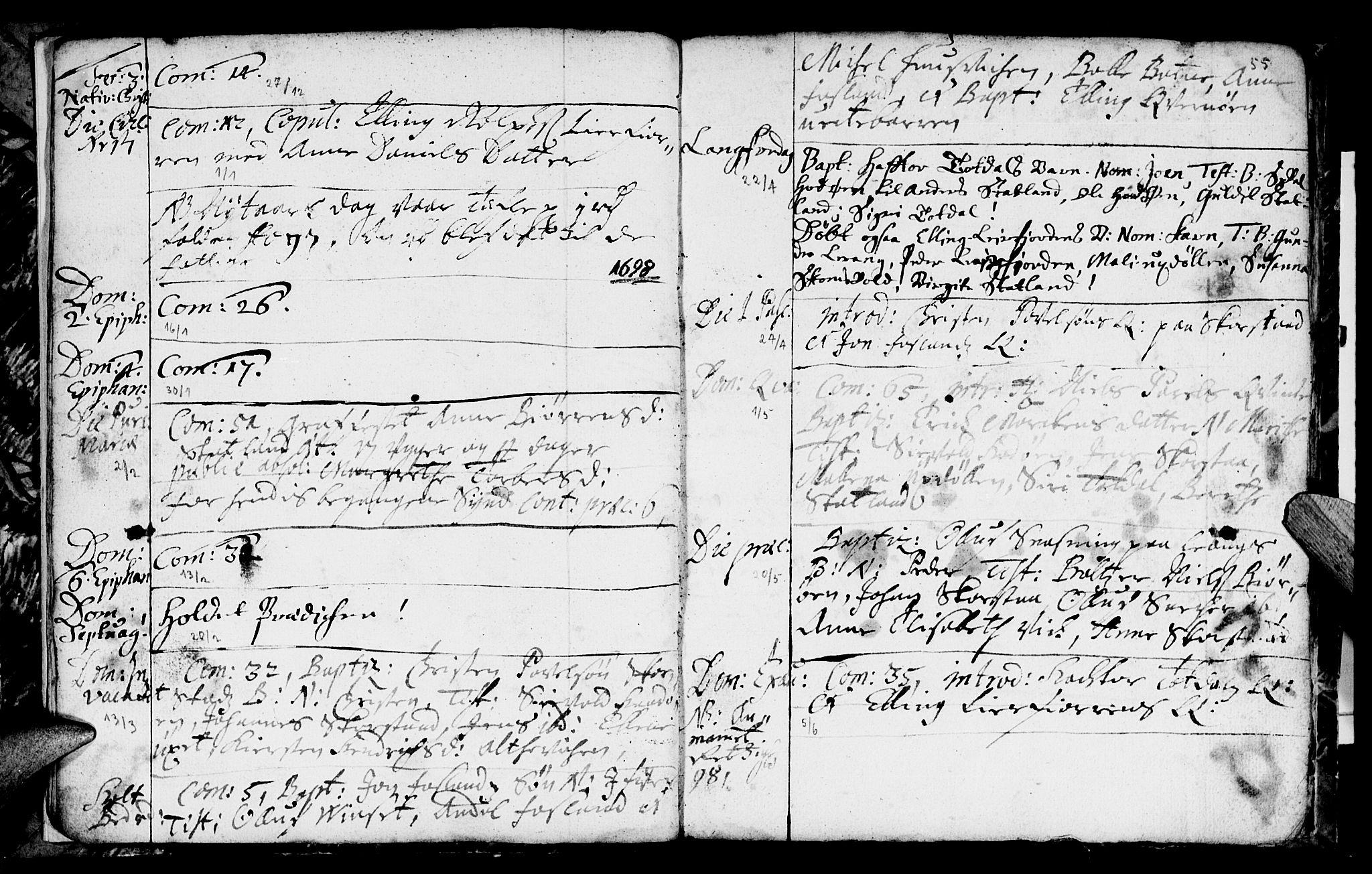 SAT, Ministerialprotokoller, klokkerbøker og fødselsregistre - Nord-Trøndelag, 774/L0627: Ministerialbok nr. 774A01, 1693-1738, s. 54-55