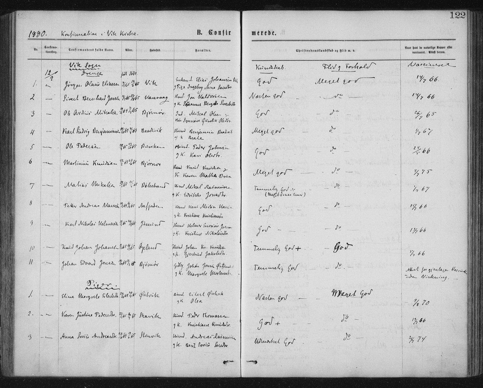 SAT, Ministerialprotokoller, klokkerbøker og fødselsregistre - Nord-Trøndelag, 771/L0596: Ministerialbok nr. 771A03, 1870-1884, s. 122